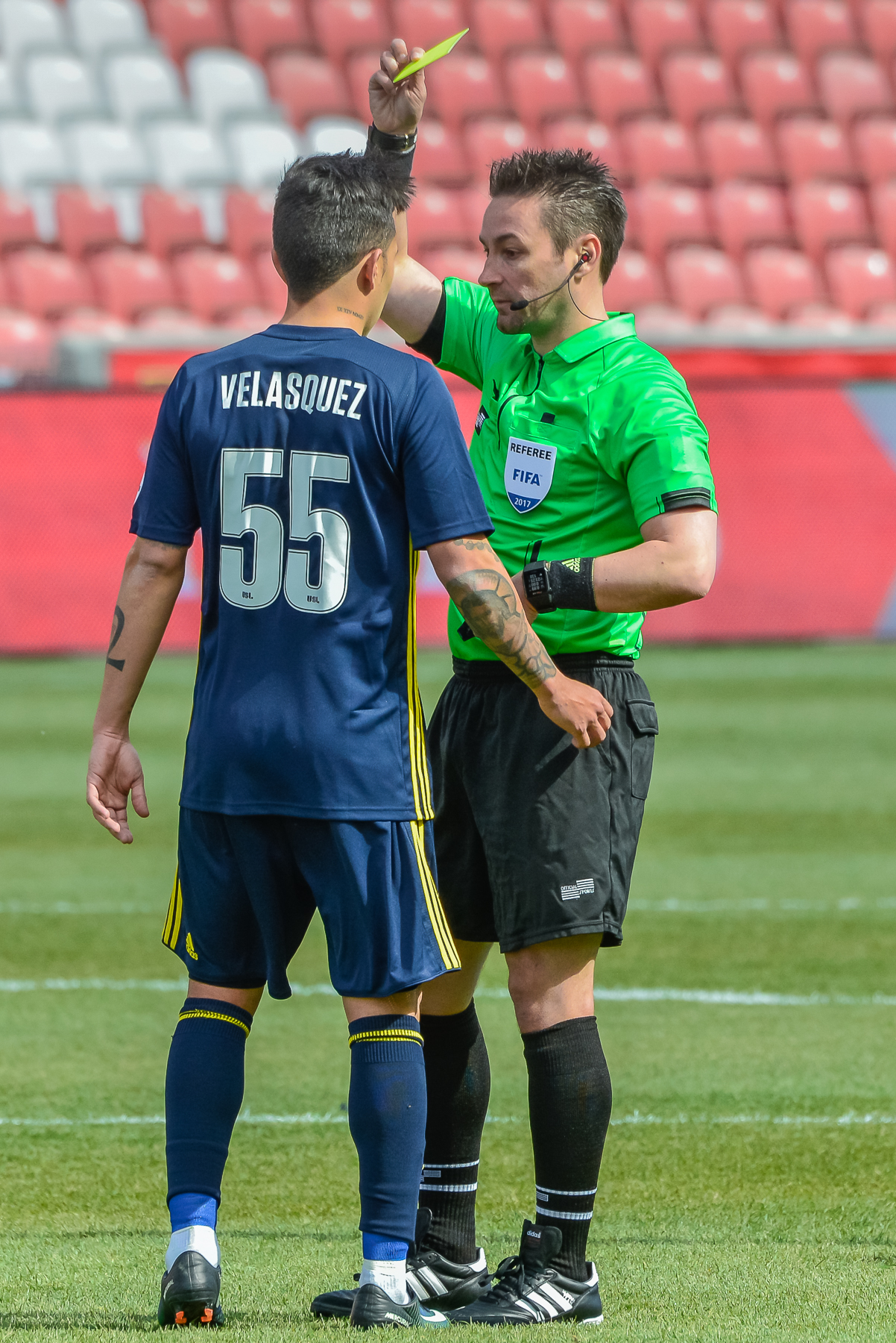 Sebastian Velasquez is shown a yellow card for Real Monarchs.