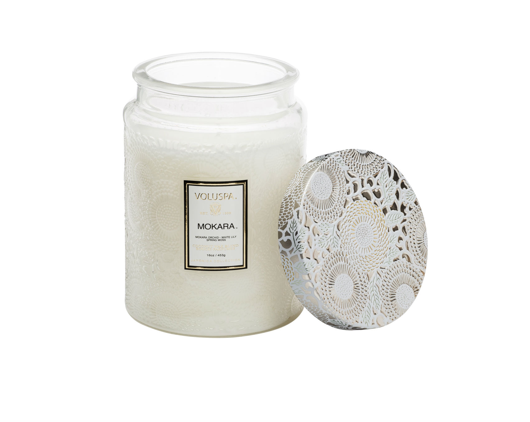 Voluspa Mokara Large Embossed Glass Jar Candle