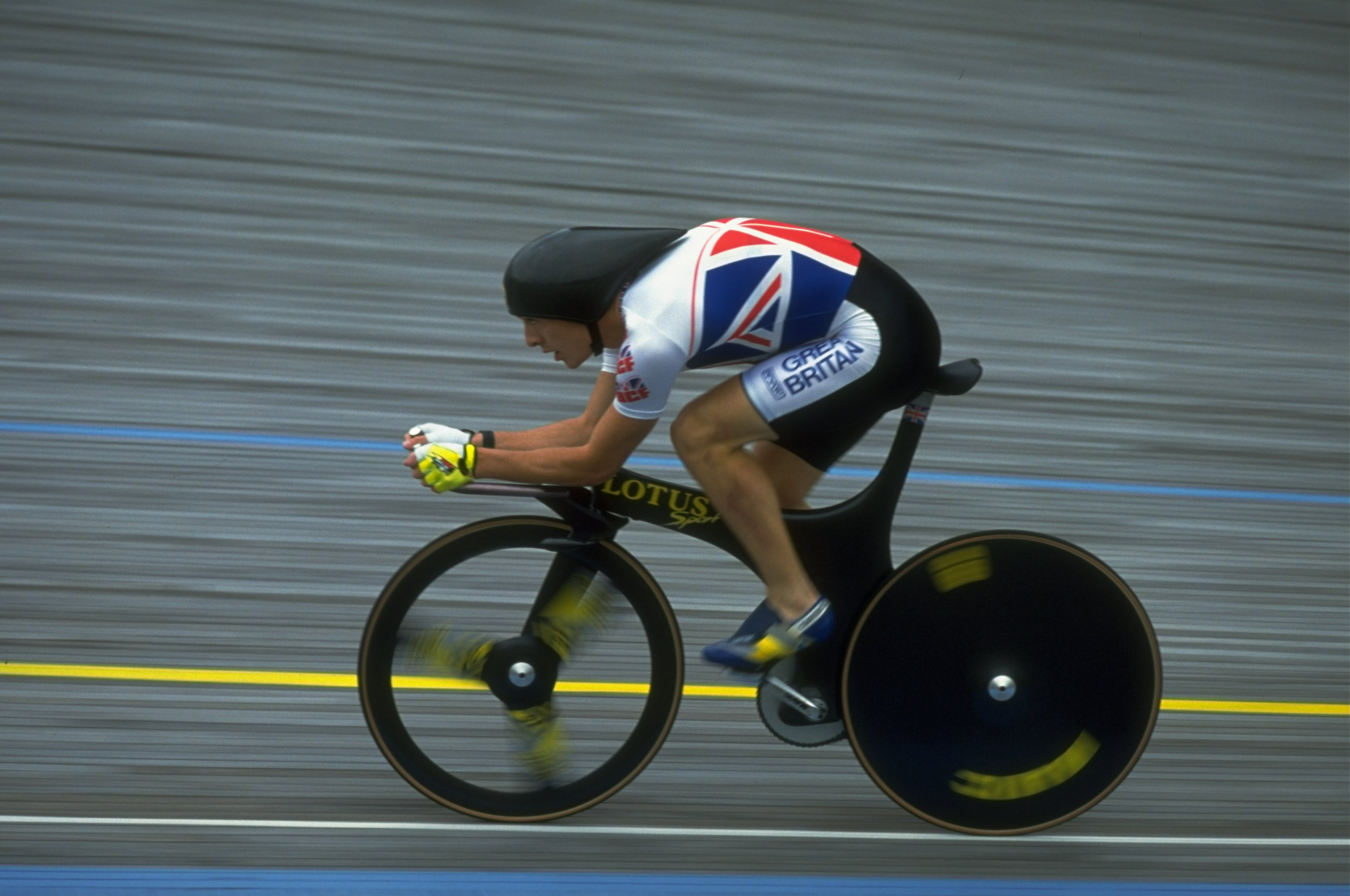 Chris Boardman riding the Lotus bike during the National Cycling Championships in Leicester in August 1992