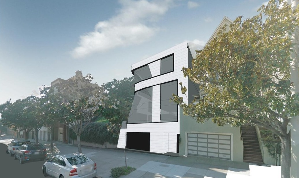 Renderings of a two-level white modernist home with large windows.