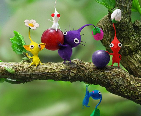 pikmin sitting on a branch