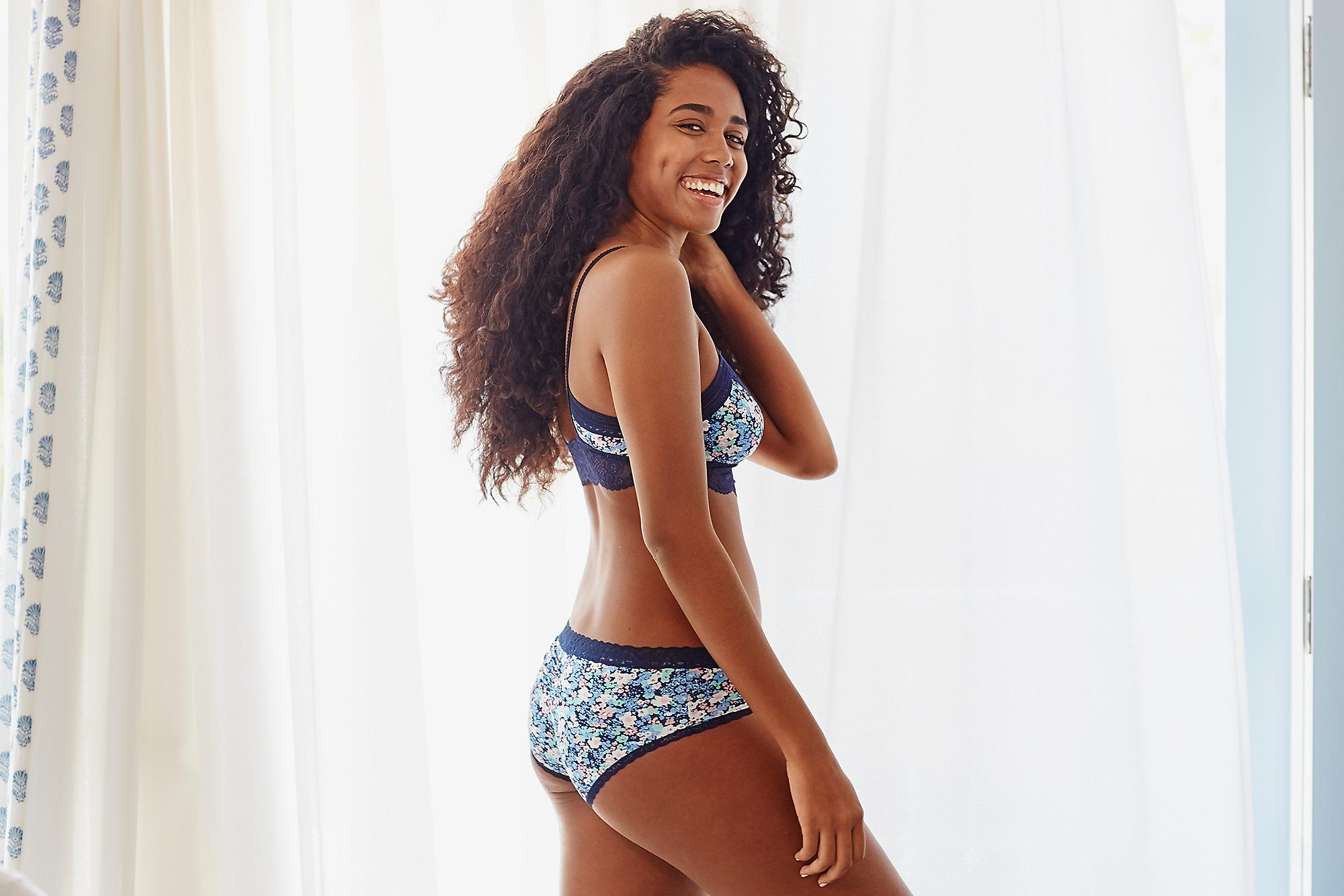 A model wearing Aerie underwear and bra