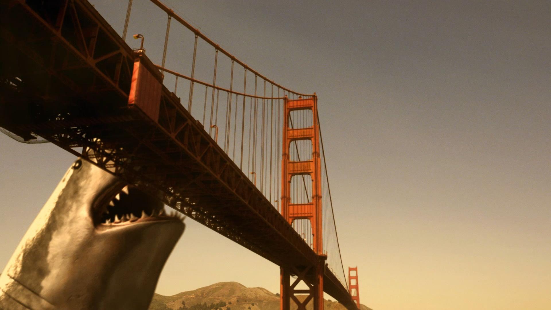 A shark biting the Golden Gate bridge in 2009's Mega Shark vs. Giant Octopus.