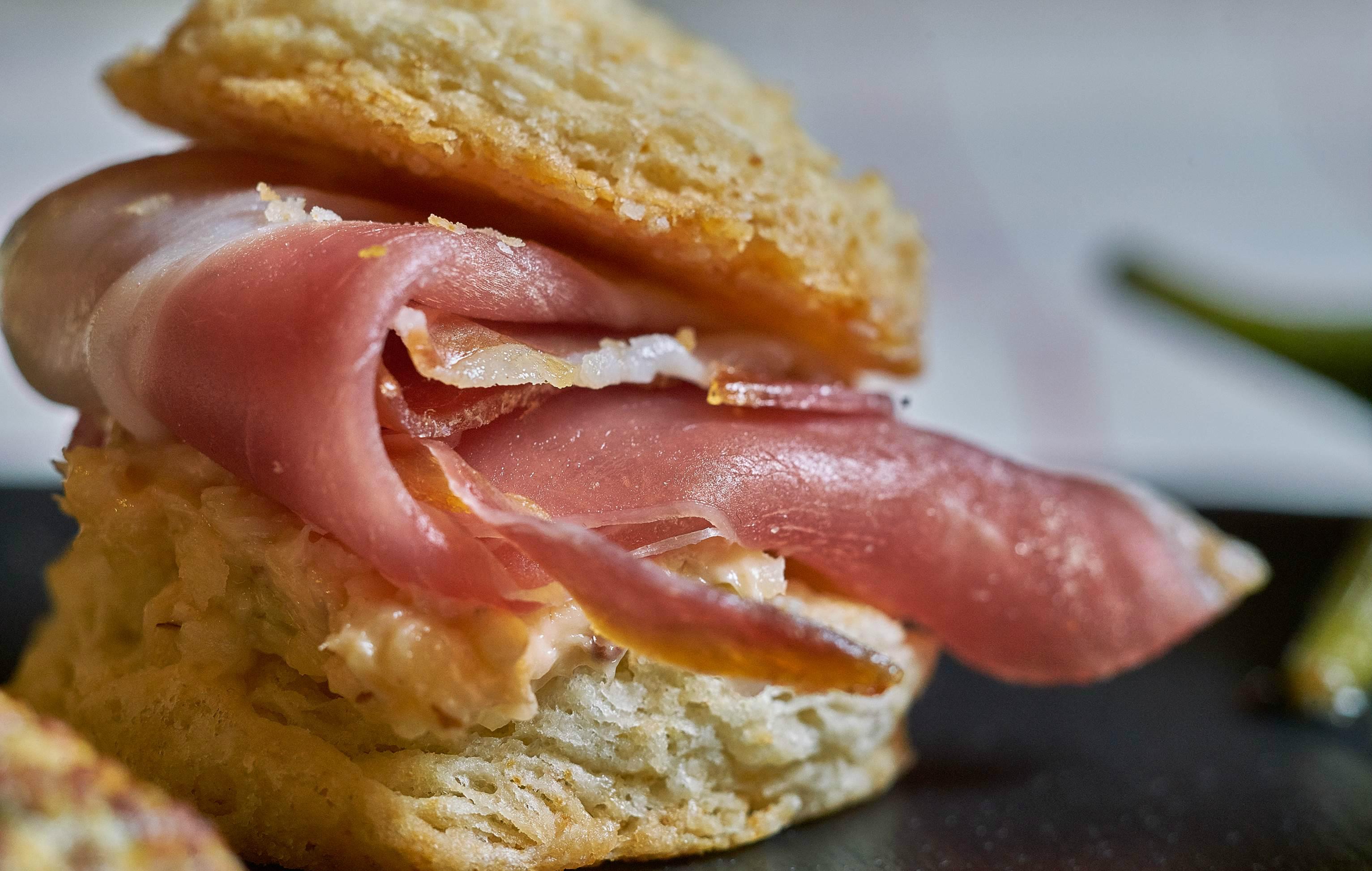 Ham biscuits: Benton's ham, buttermilk biscuits, pimento cheese, Tabasco honey.