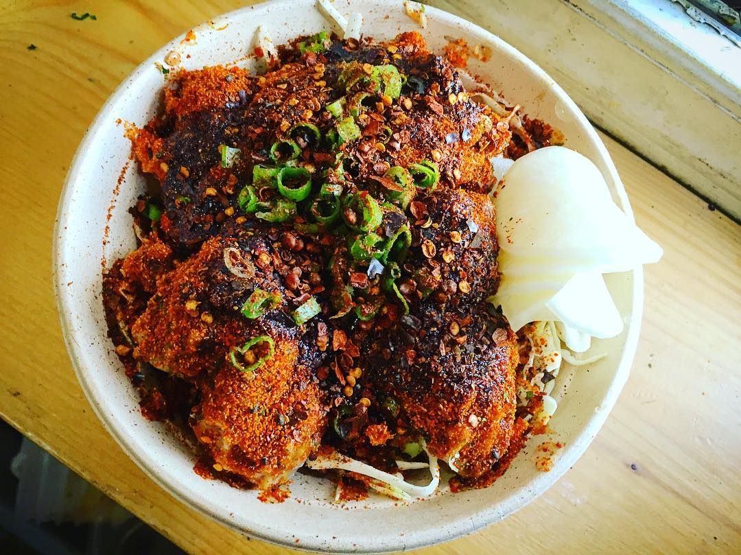 """""""Nashville hot"""" karaage from Short Grain, a Charleston food truck popping up at Mei Mei"""