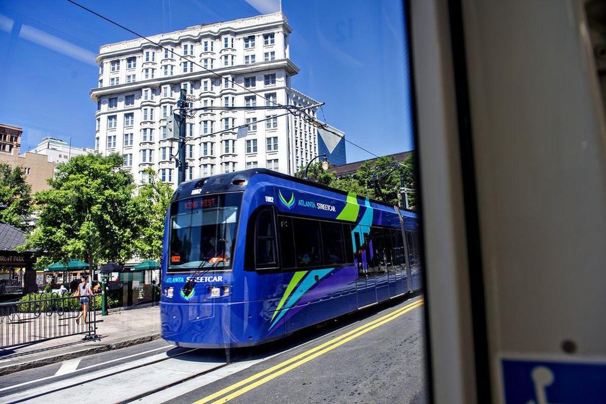 The Atlanta Streetcar courses through downtown Atlanta.