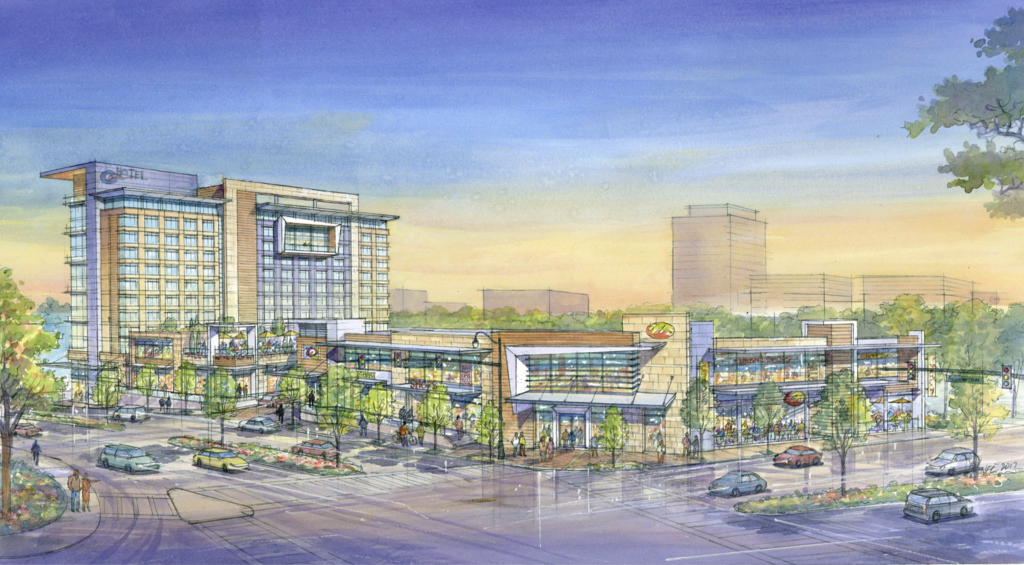 Hand-drawn rendering showing the glassy hotel beyond two-story retail development.