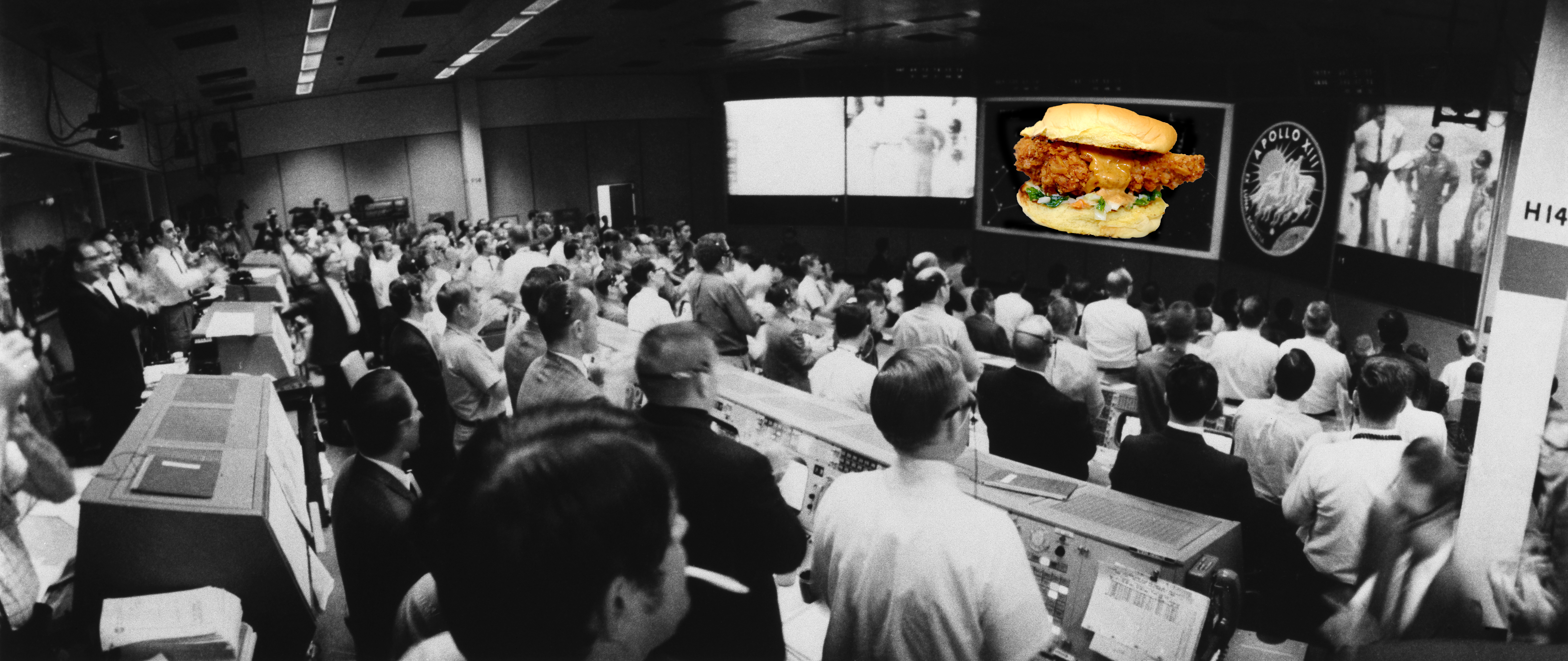 A chicken sandwich appears on the radar of a vintage NASA photo.