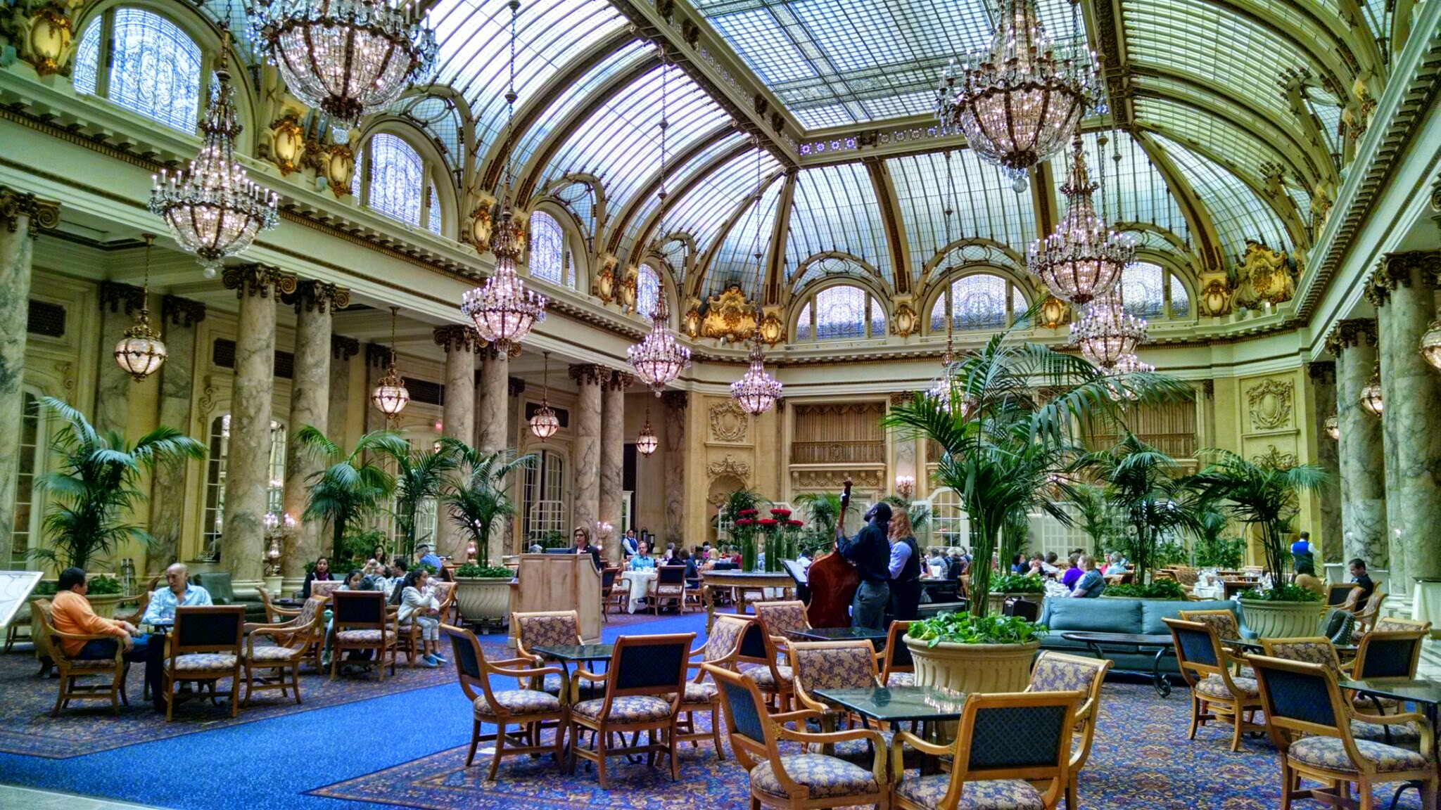 The Palace Hotel's garden court.