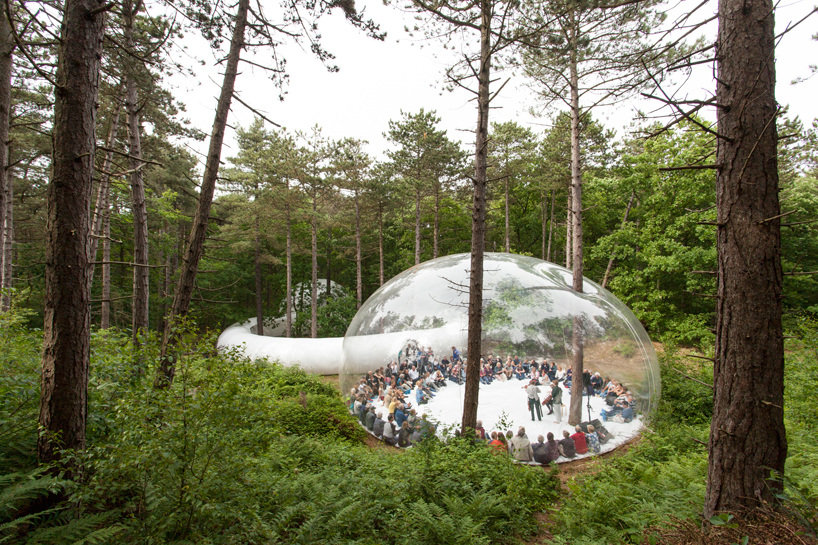 Giant inflatable bubbles become otherworldly, mesmerizing performance venue