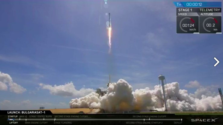 Screengrab of SpaceX launch