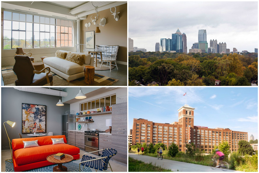Montage of images of Ponce City Market and the Flats at Ponce City Market.