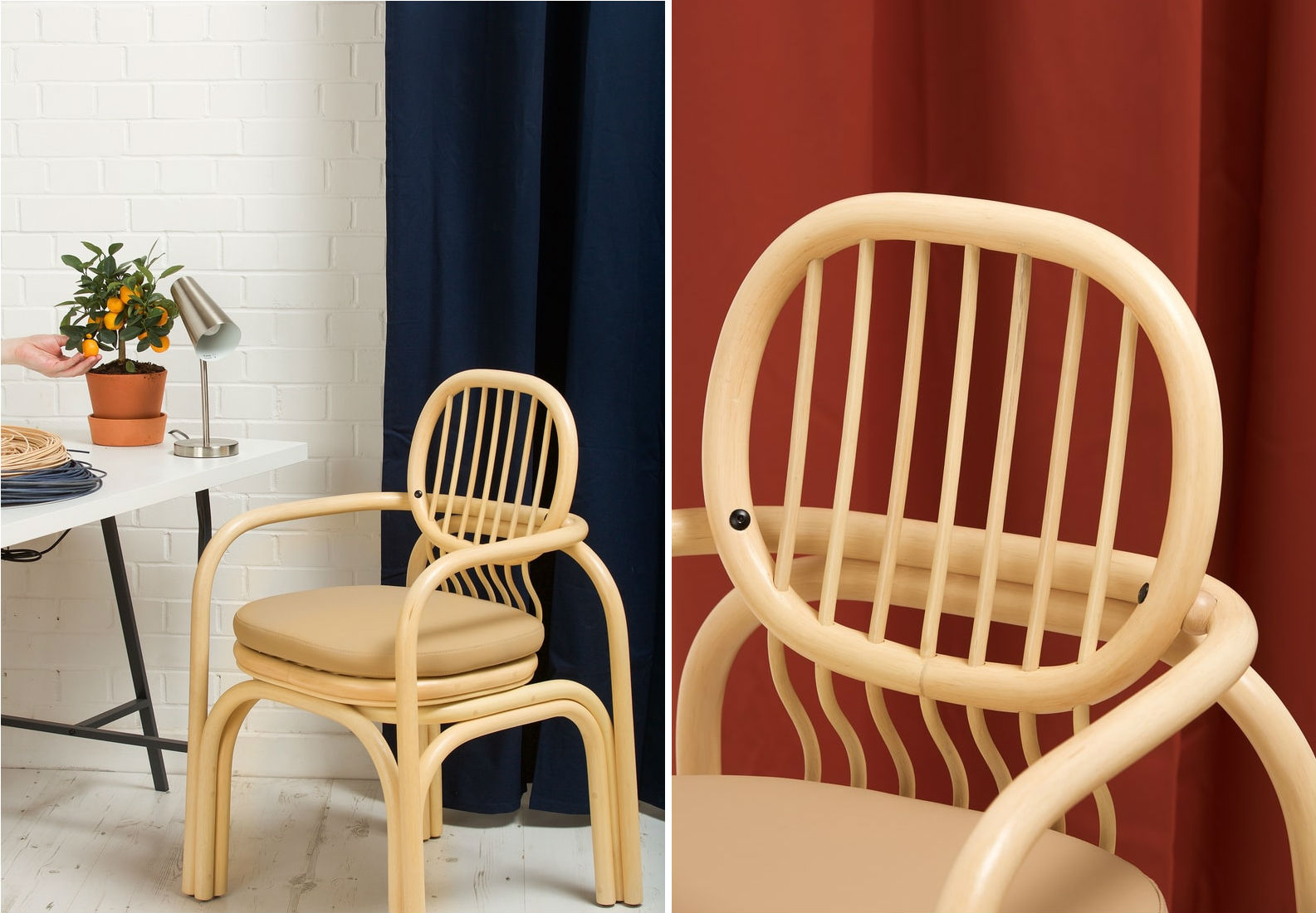 Side by side image of curved rattan chair with cushion beside a desk and a closeup up the backrest.
