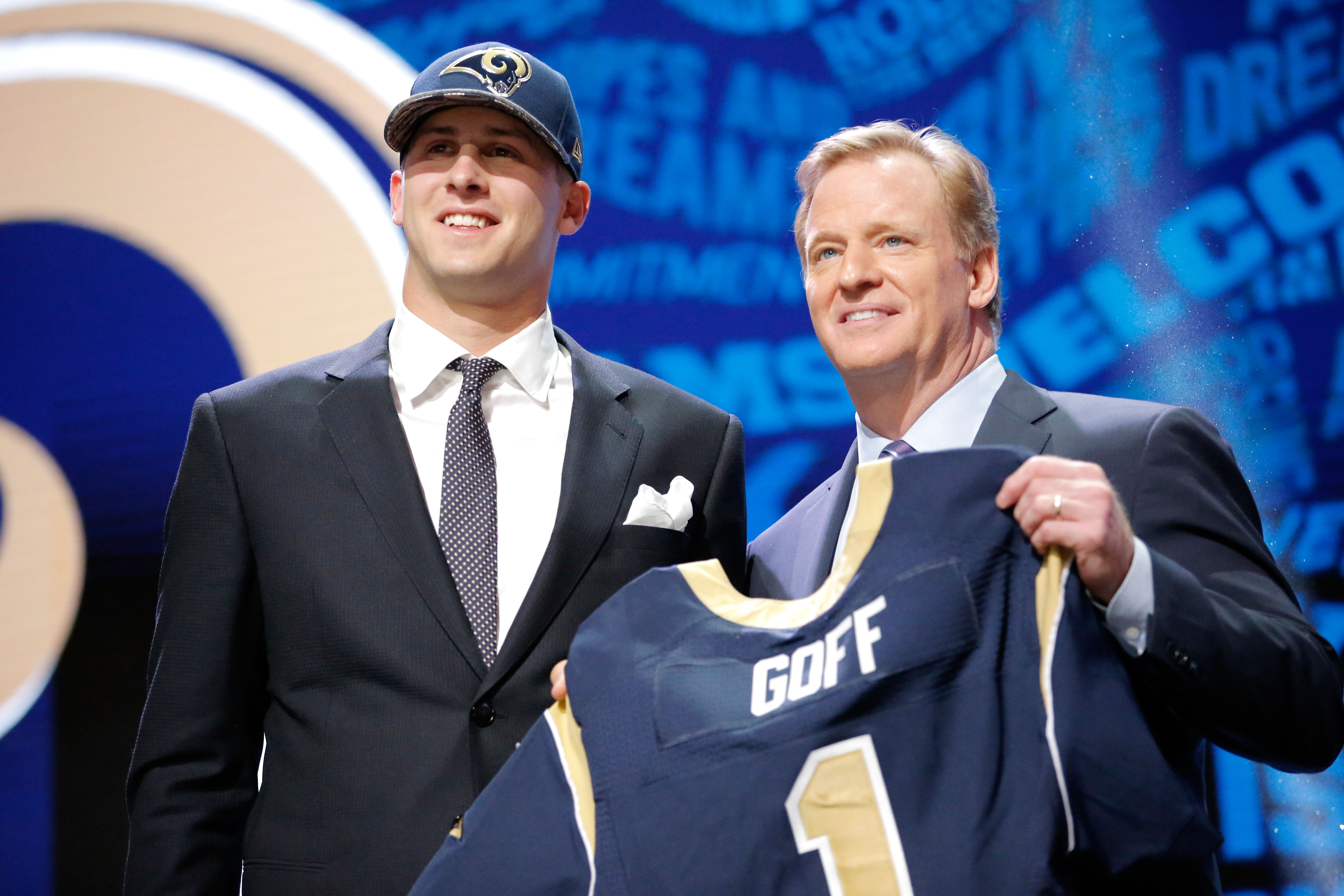 Los Angeles Rams QB Jared Goff and NFL Commissioner Roger Goodell