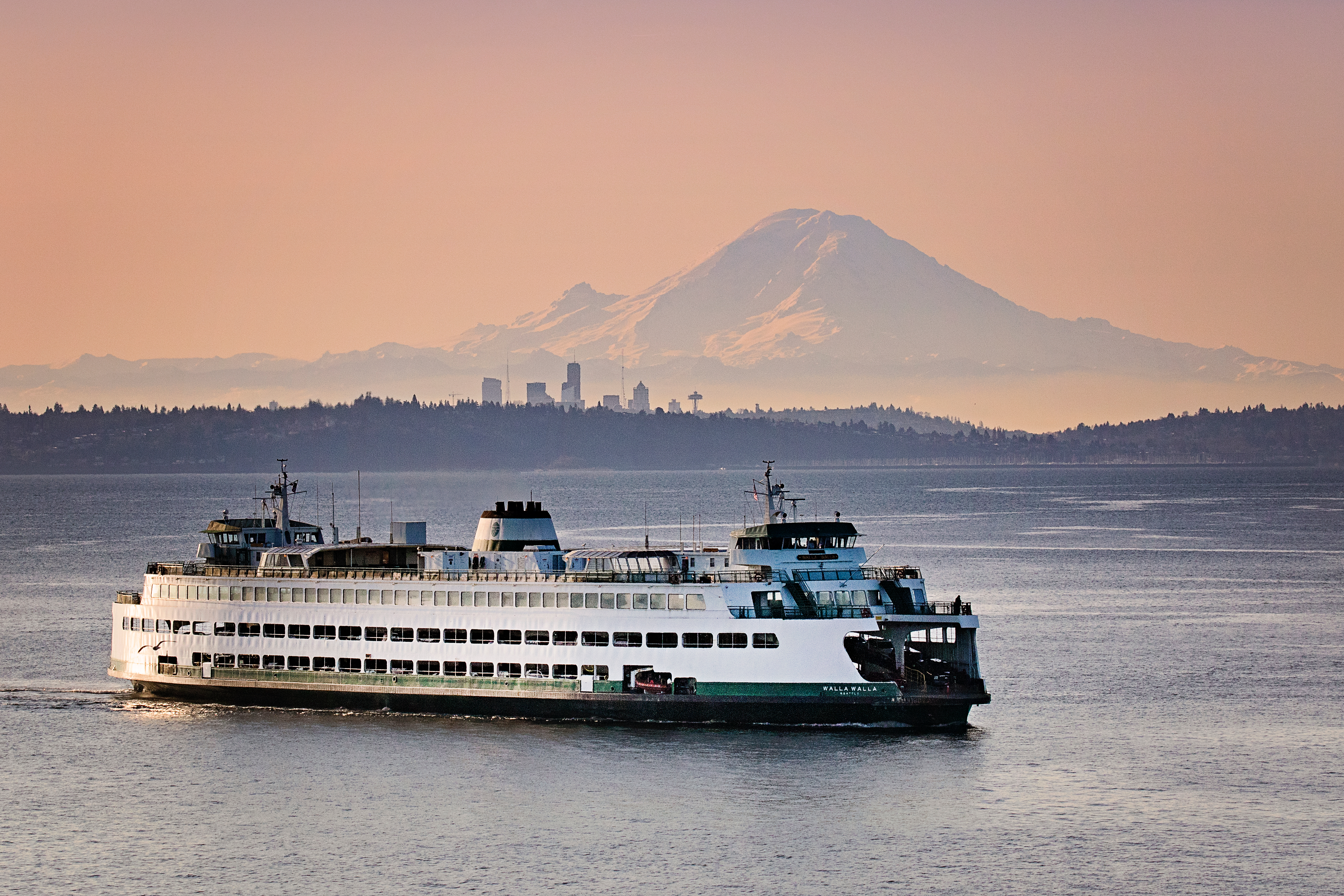 A large white ferry with green trim on calm waters. There's a large mountain in the background and silhouettes of hills and skyscrapers.