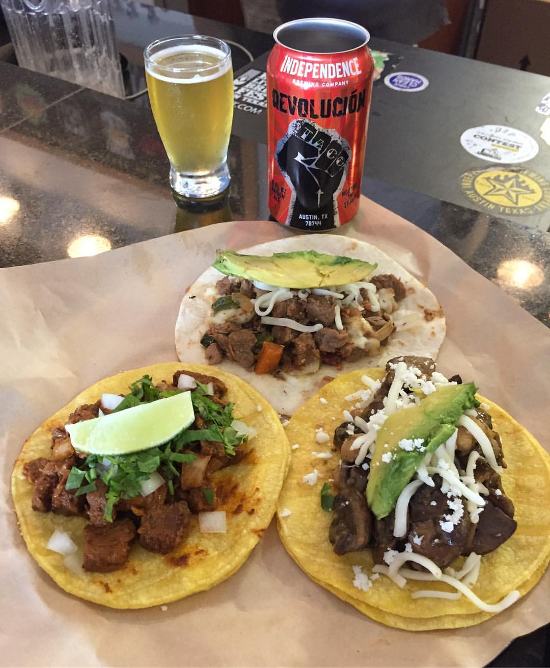 Independence Brewery's Revolucion Saison Ale and tacos