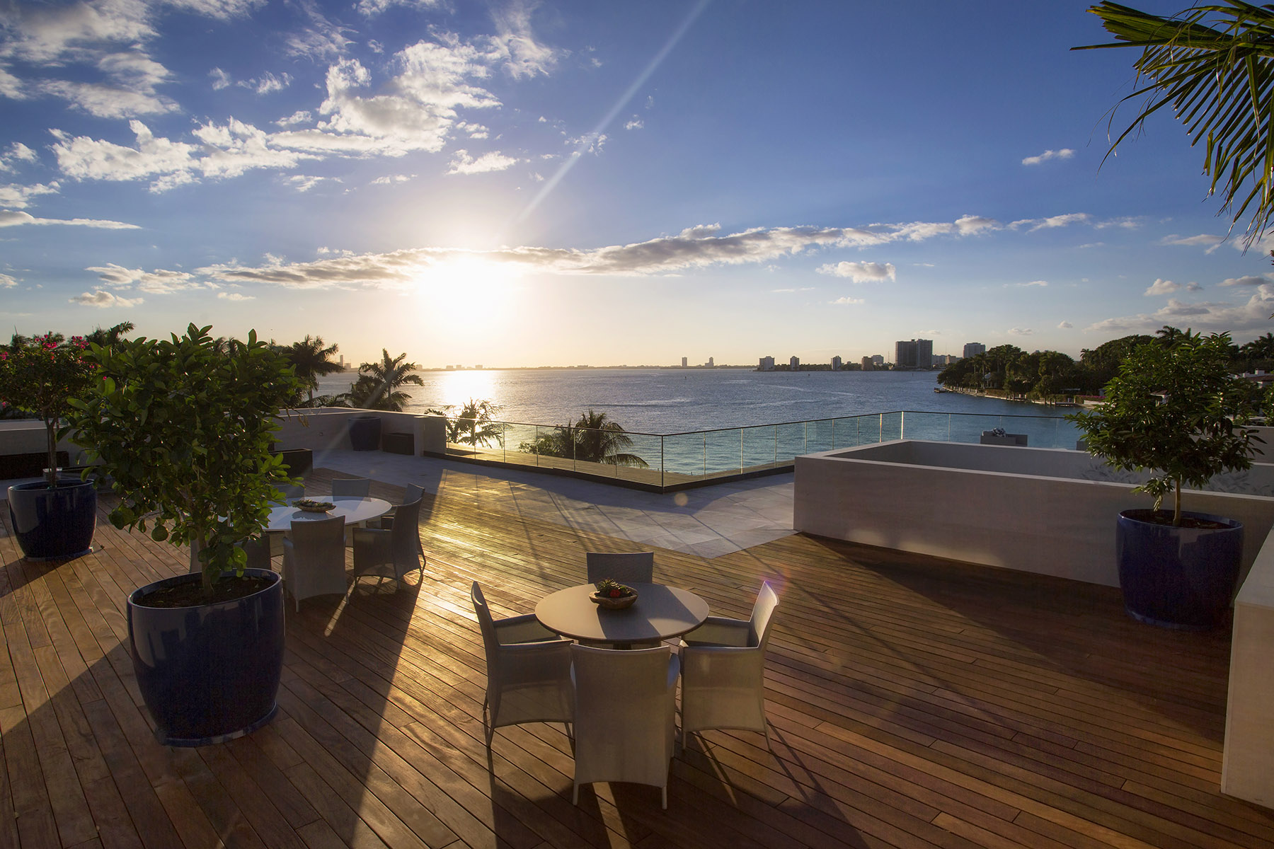 6440 North Bay Road, Miami Beach, an aerial view from the rooftop deck overlooking the water.
