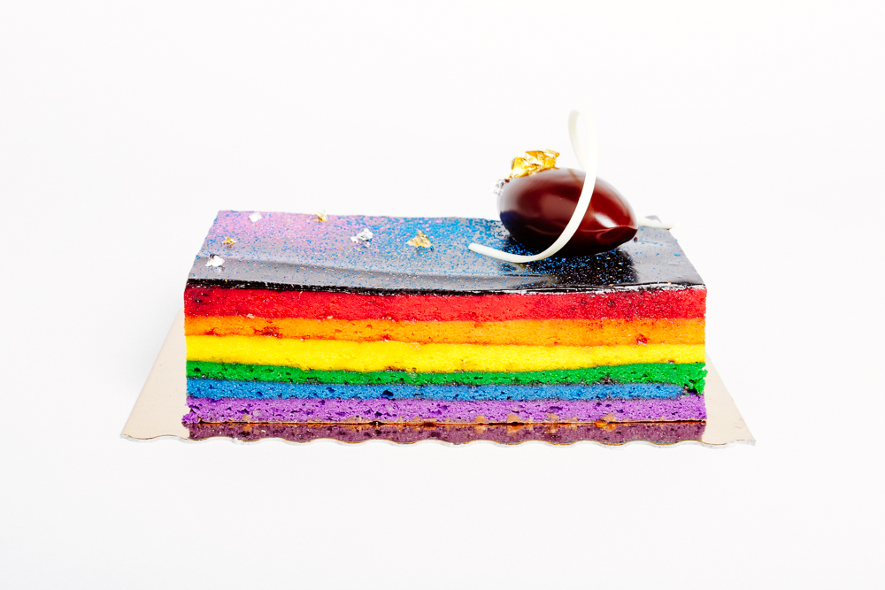 Rainbow cake at Bouchon Bakery