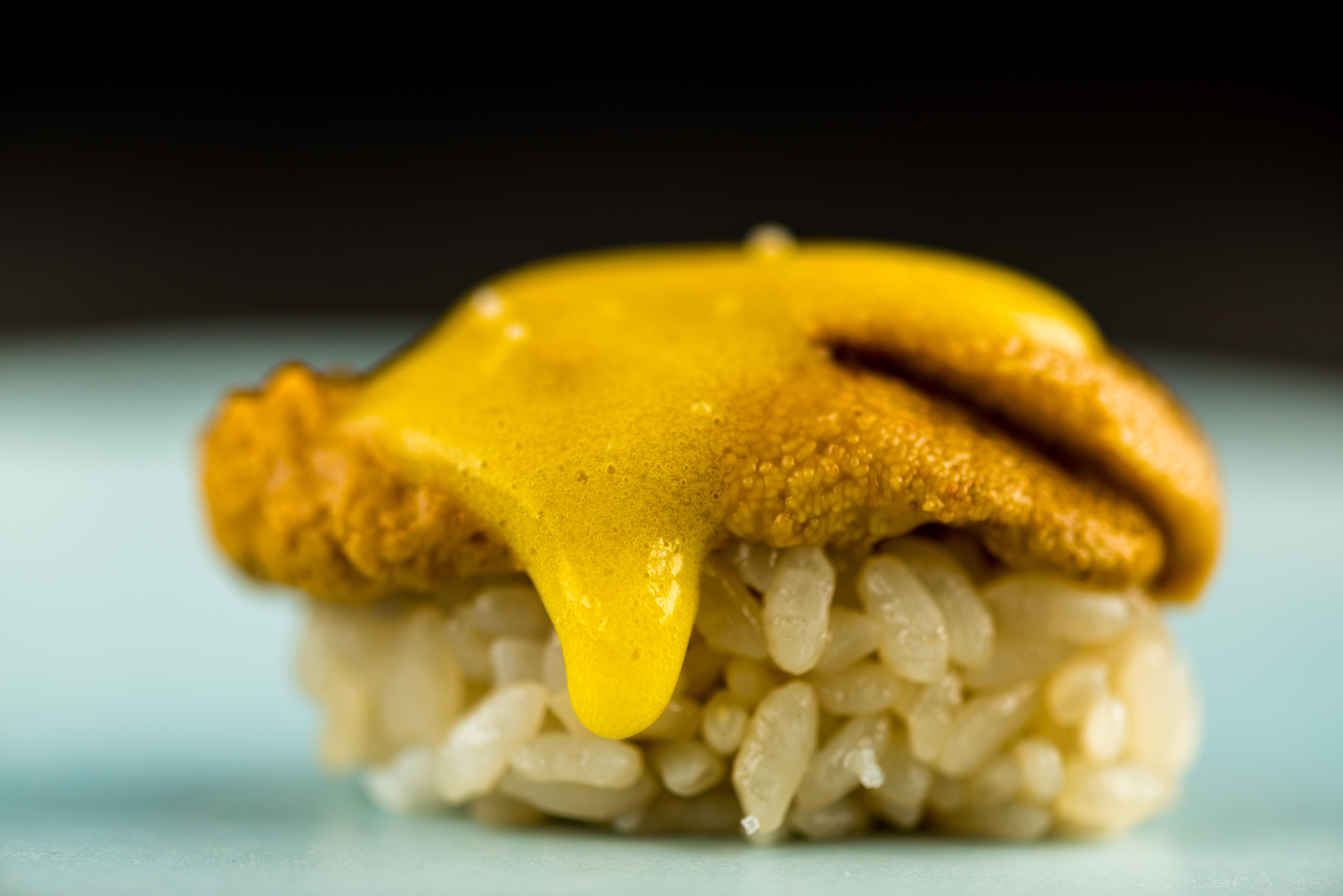 Santa Barbara uni with a shiro dashi-emulsified egg yolk, lemon, and soy