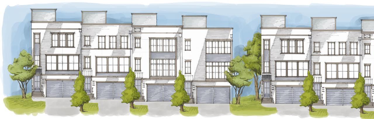 A rendering of a new townhouse development in Norcross, Gwinnett County.