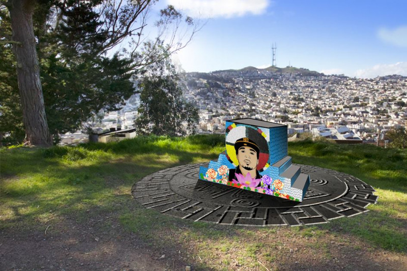 A rendering of a headstone on Bernal Hill with an illustration of Alex Nieto's face.