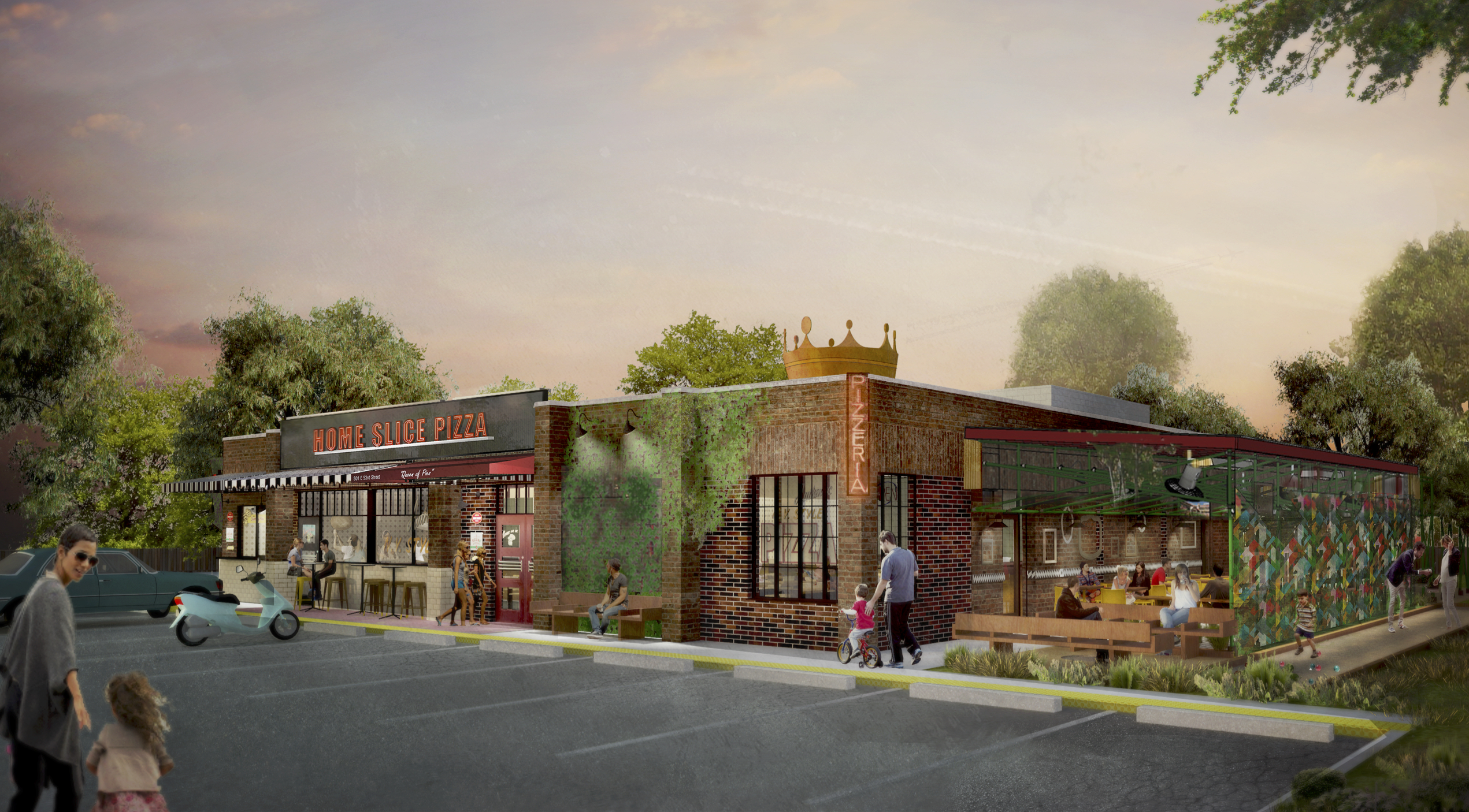 Rendering of Home Slice's North Loop pizzeria