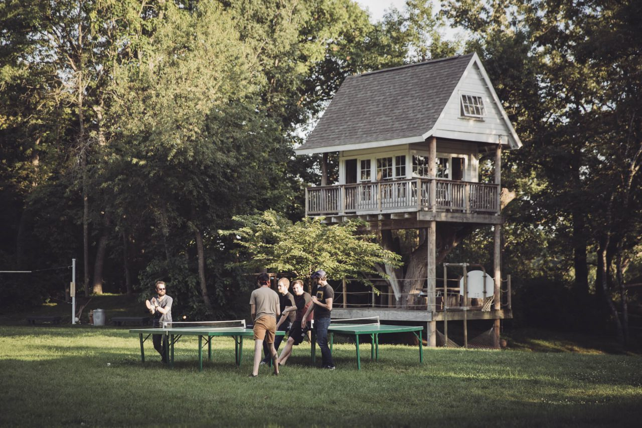 A cabin with table tennis at Camp Wandawega in Wisconsin.