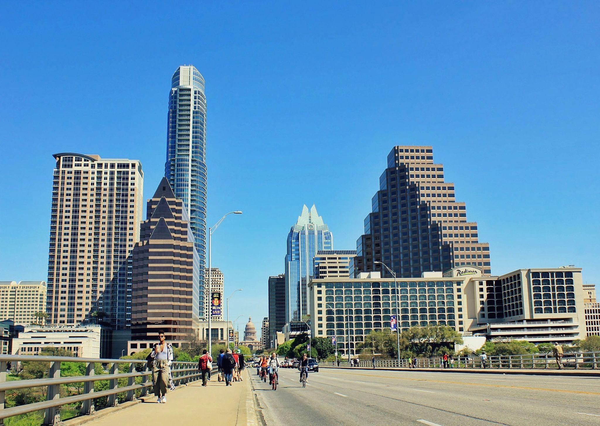 A bridge leading to downtown Austin