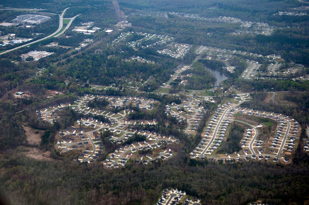 A photo showing a typical aerial view of Atlanta's vast suburbs.