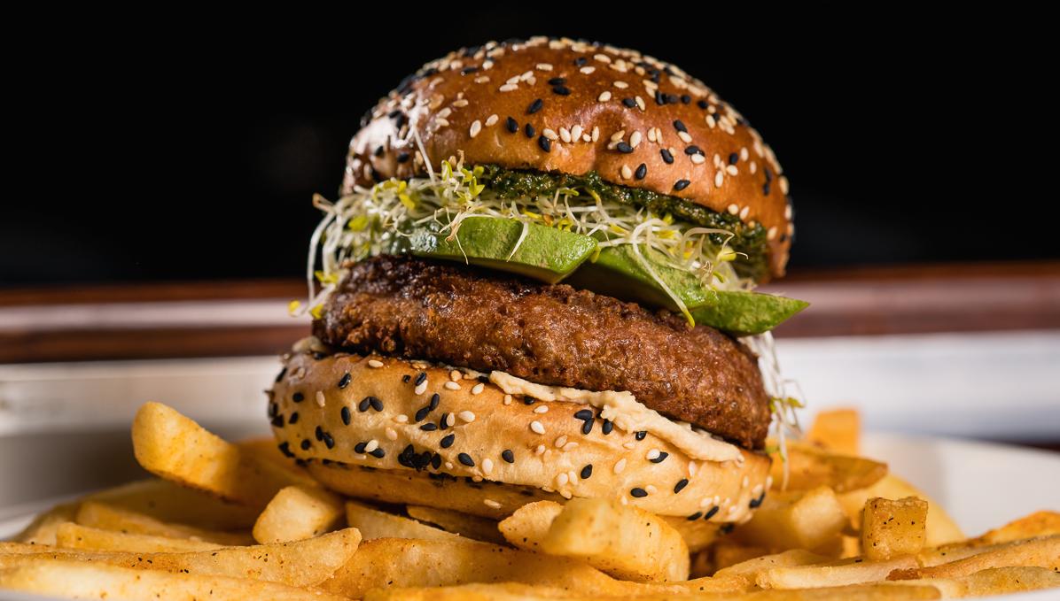 Alamo Drafthouse's avocado and pesto burger with Beyond Burger's patty