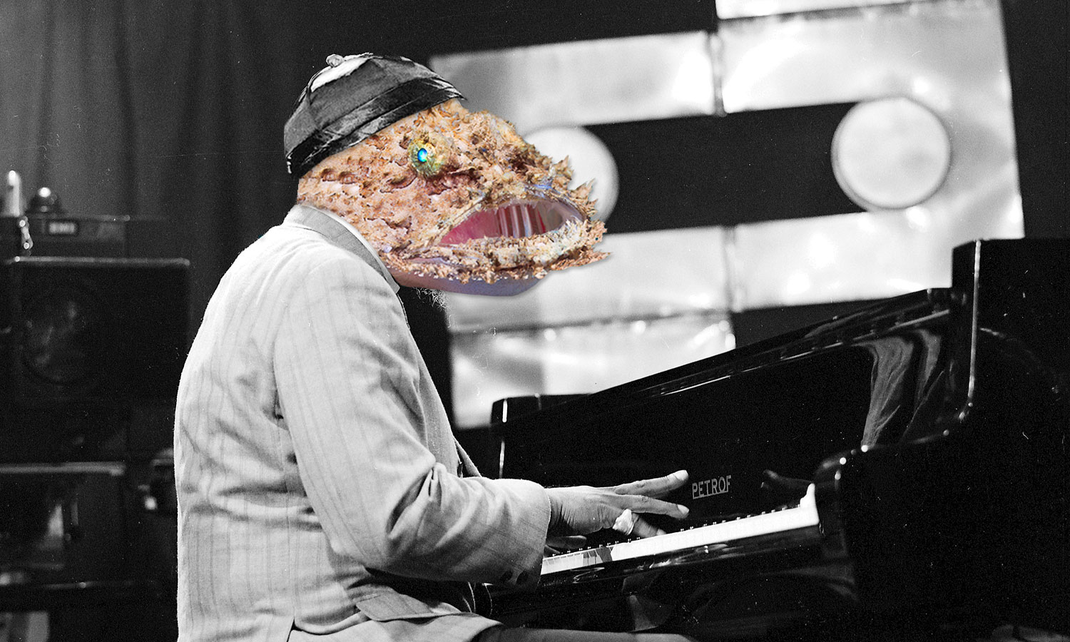 Archival image of jazz musician Thelonious Monk, with his face replaced by a monkfish.