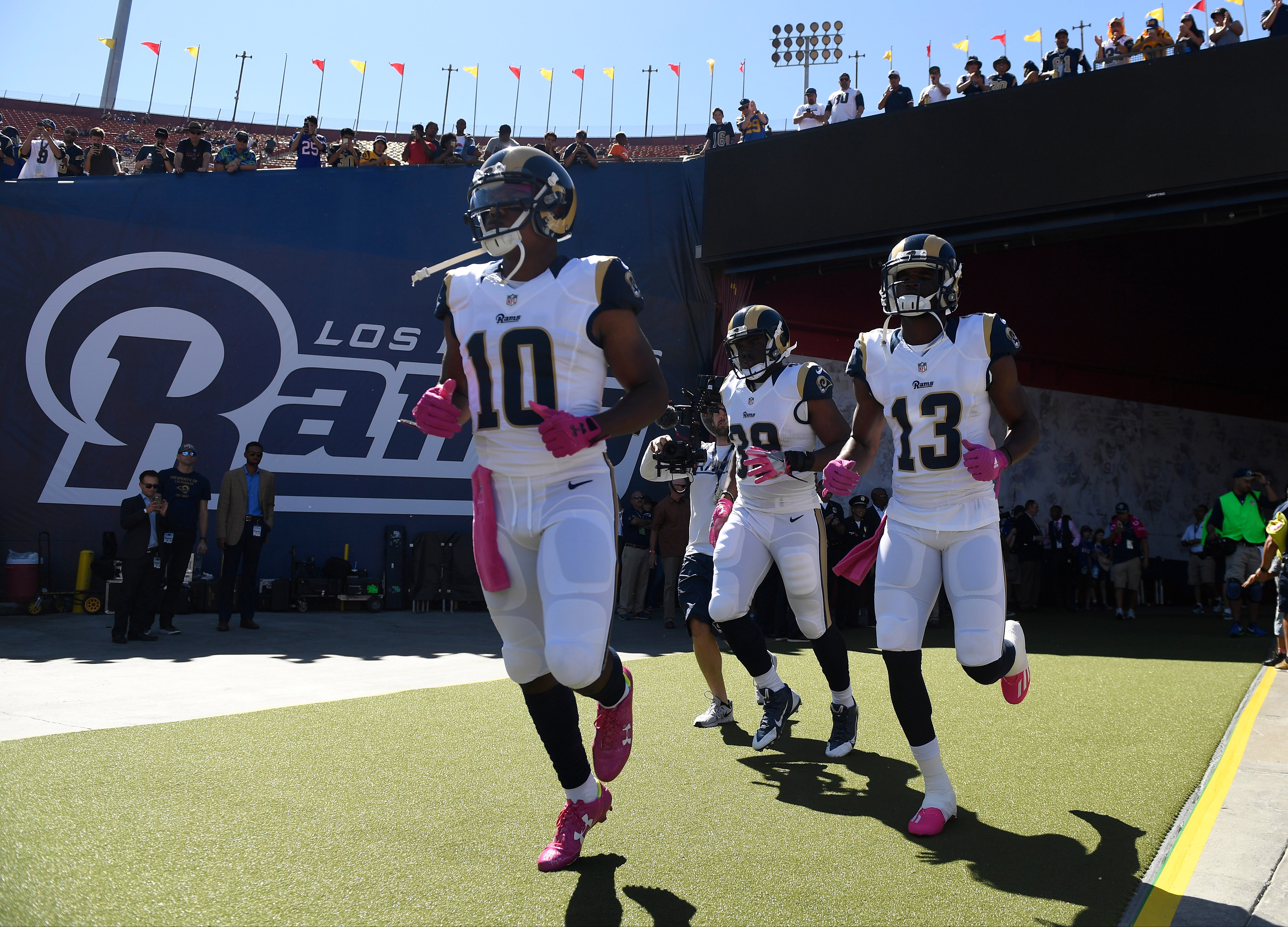 Los Angeles Rams WR Pharoh Cooper, RB Malcolm Brown and WR Mike Thomas