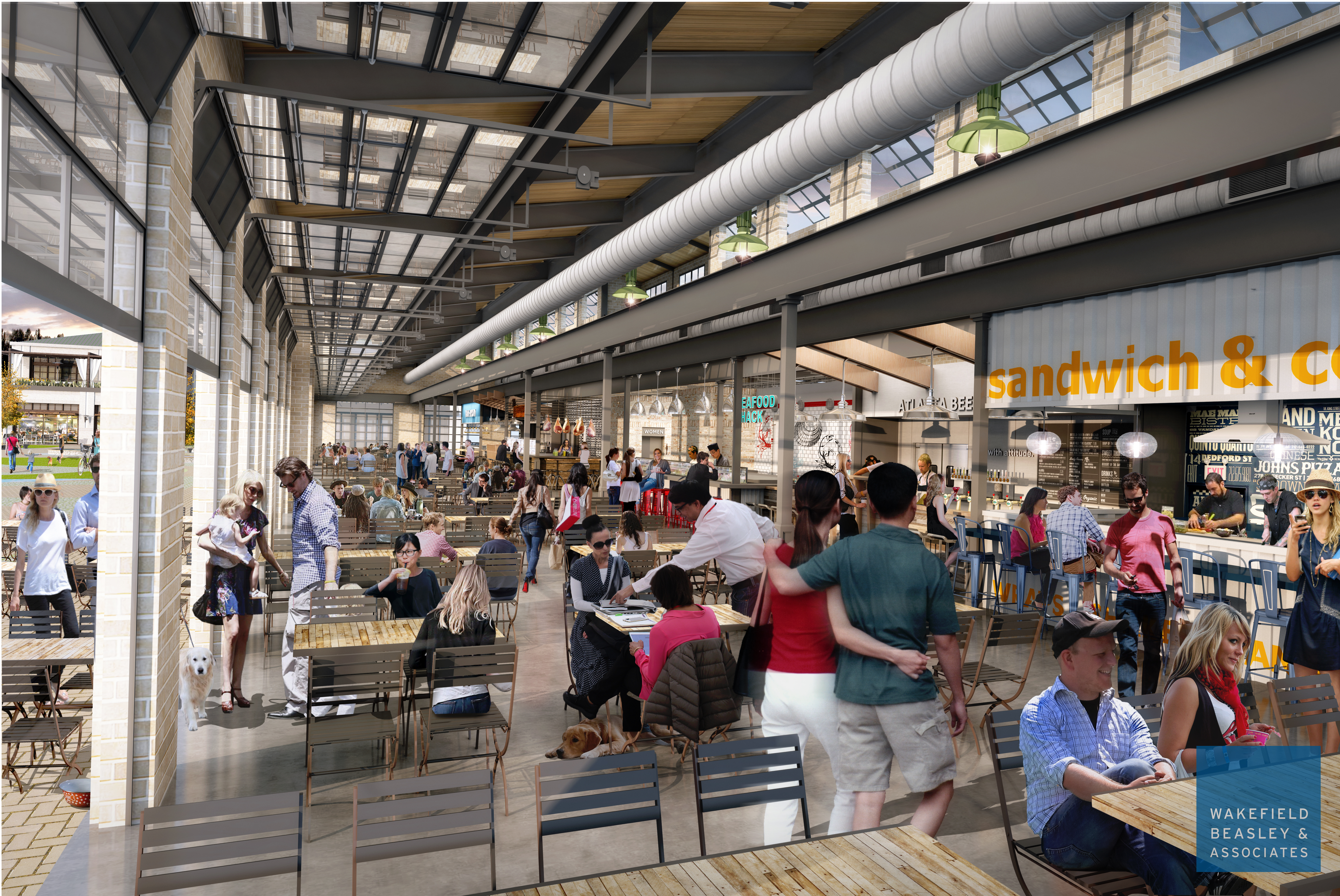 A rendering of Halcyon's planned Krog Street Market-style food hall, with people seated between kiosks and large, open garage doors.