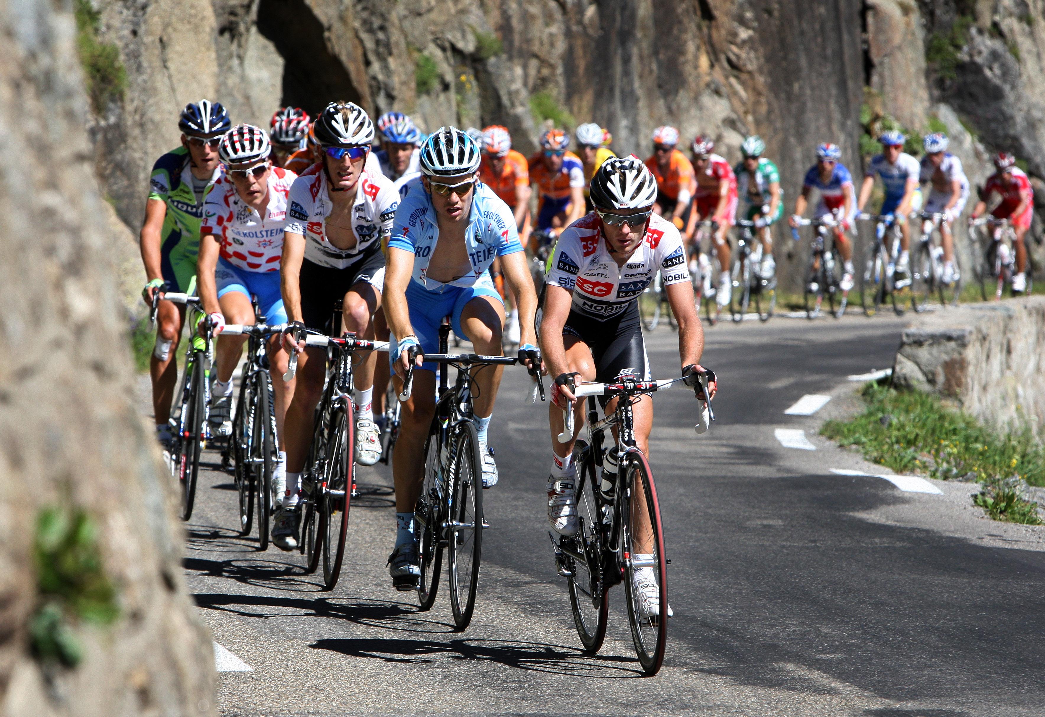 The peloton on the Cime de la Bonette-Restefond during the 2008 Tour de France.