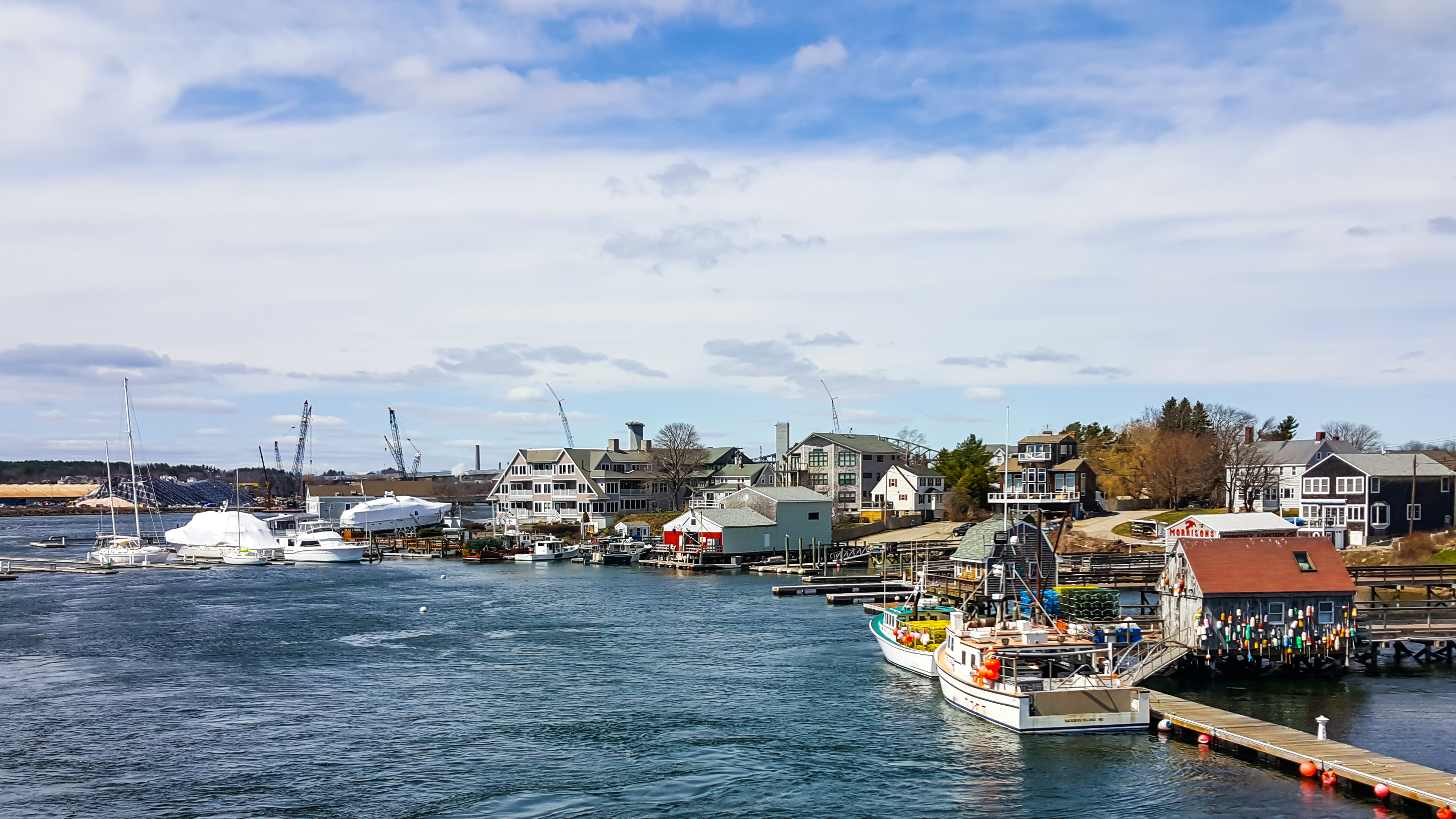 View from Memorial Bridge, leaving Portsmouth and heading towards Badger's Island and Kittery