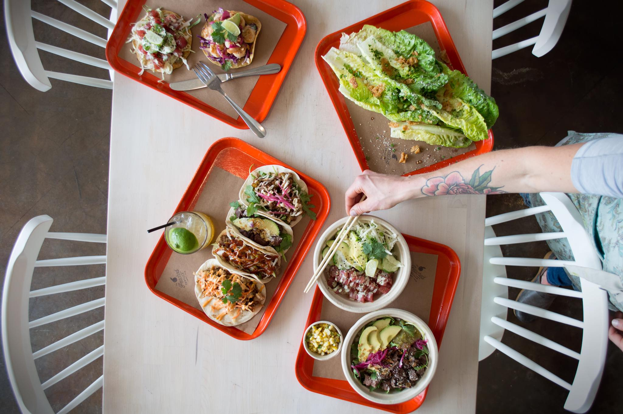 Lunch dishes from Peached Tortilla