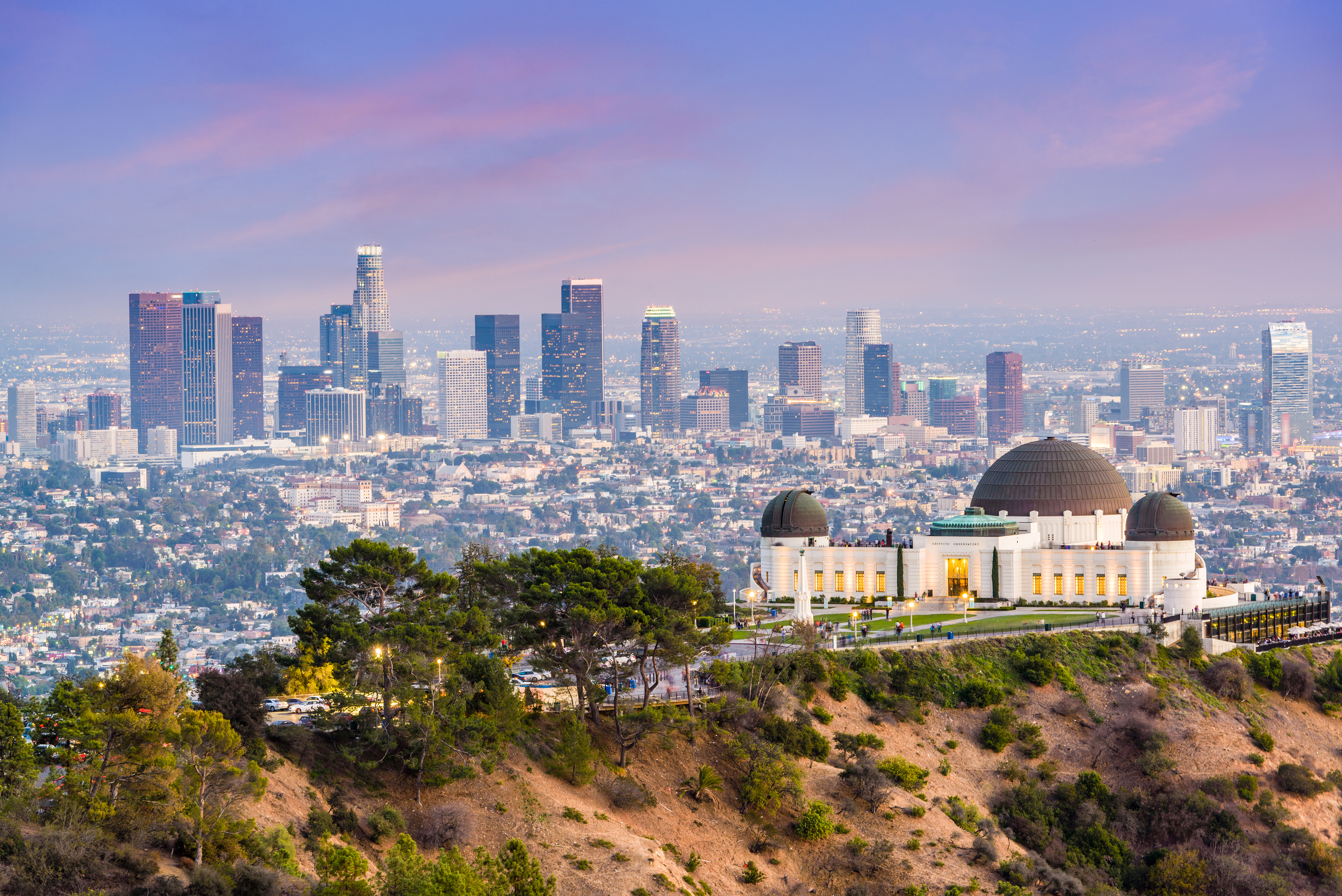 Downtown LA skyline from Griffith Park with Griffith Observatory
