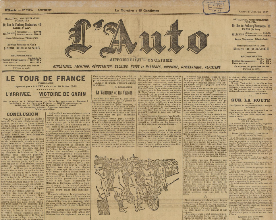 L'Auto reports the end of the first Tour de France