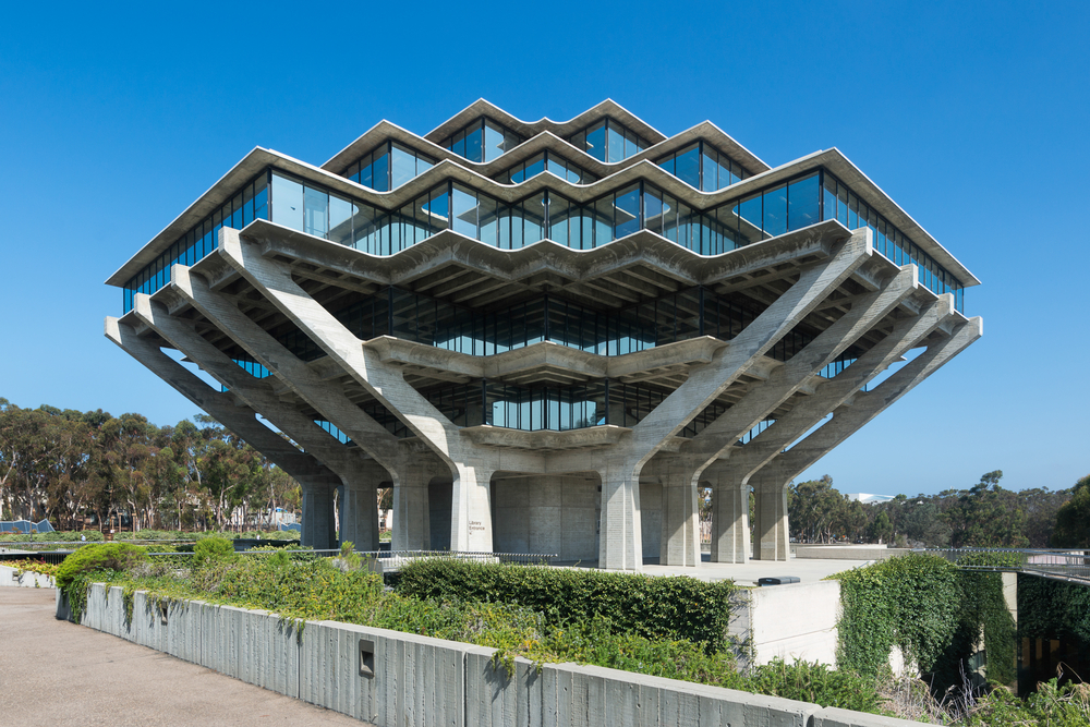 Concrete-and-glass structure resembling an angular spaceship.