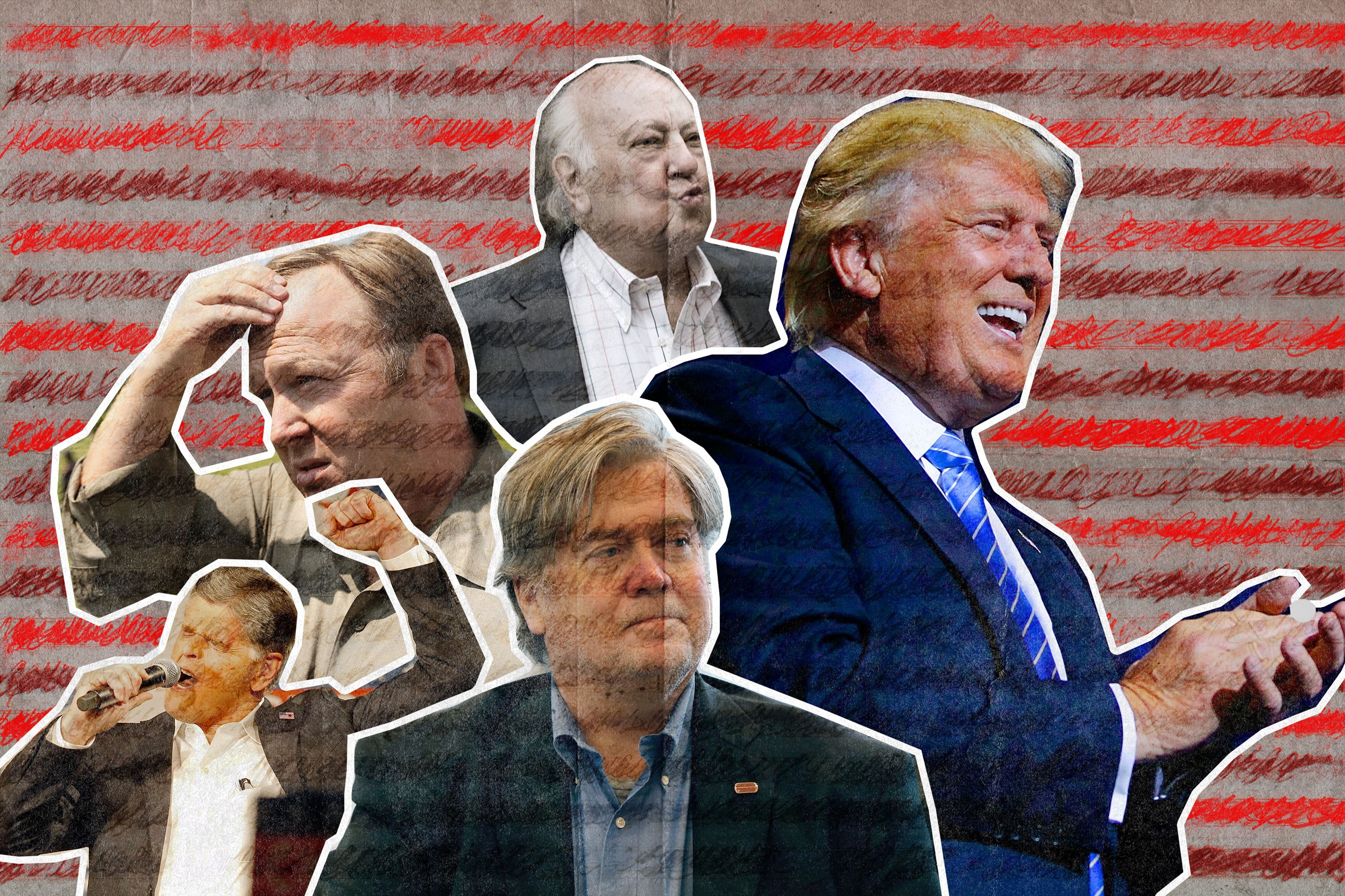 Clockwise from right: Donald Trump, Steve Bannon, Sean Hannity, Alex Jones, and Roger Ailes (AP Images/Ringer illustration)
