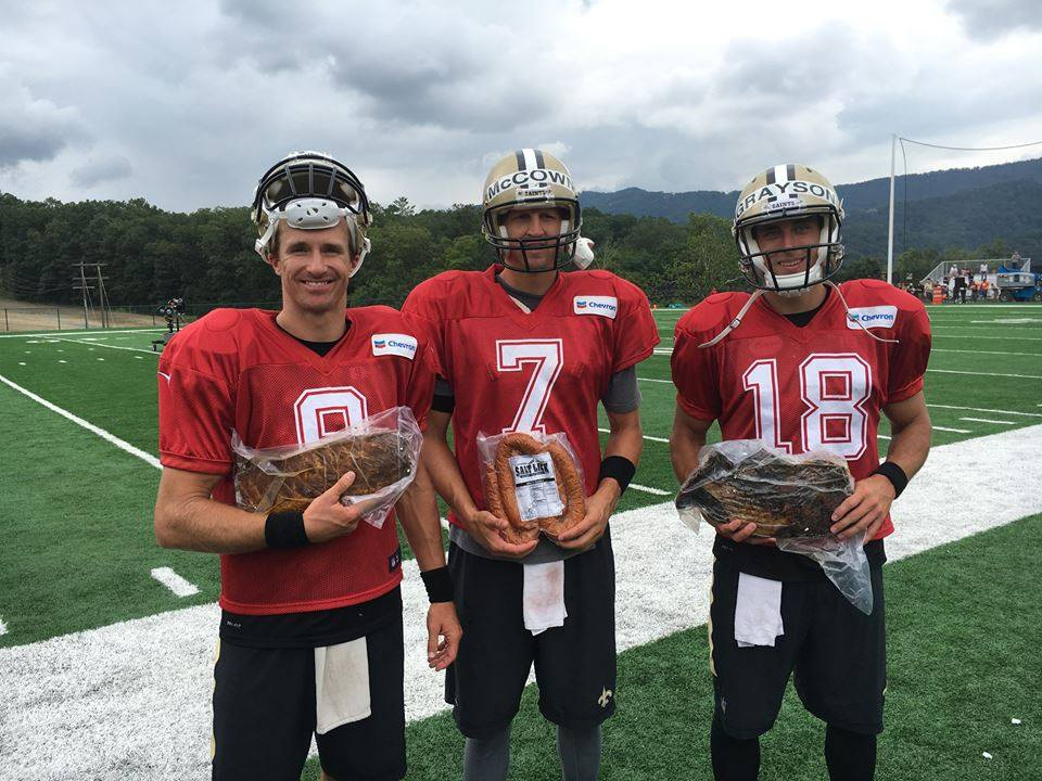 The New Orleans Saints with their Salt Lick winnings from 2016