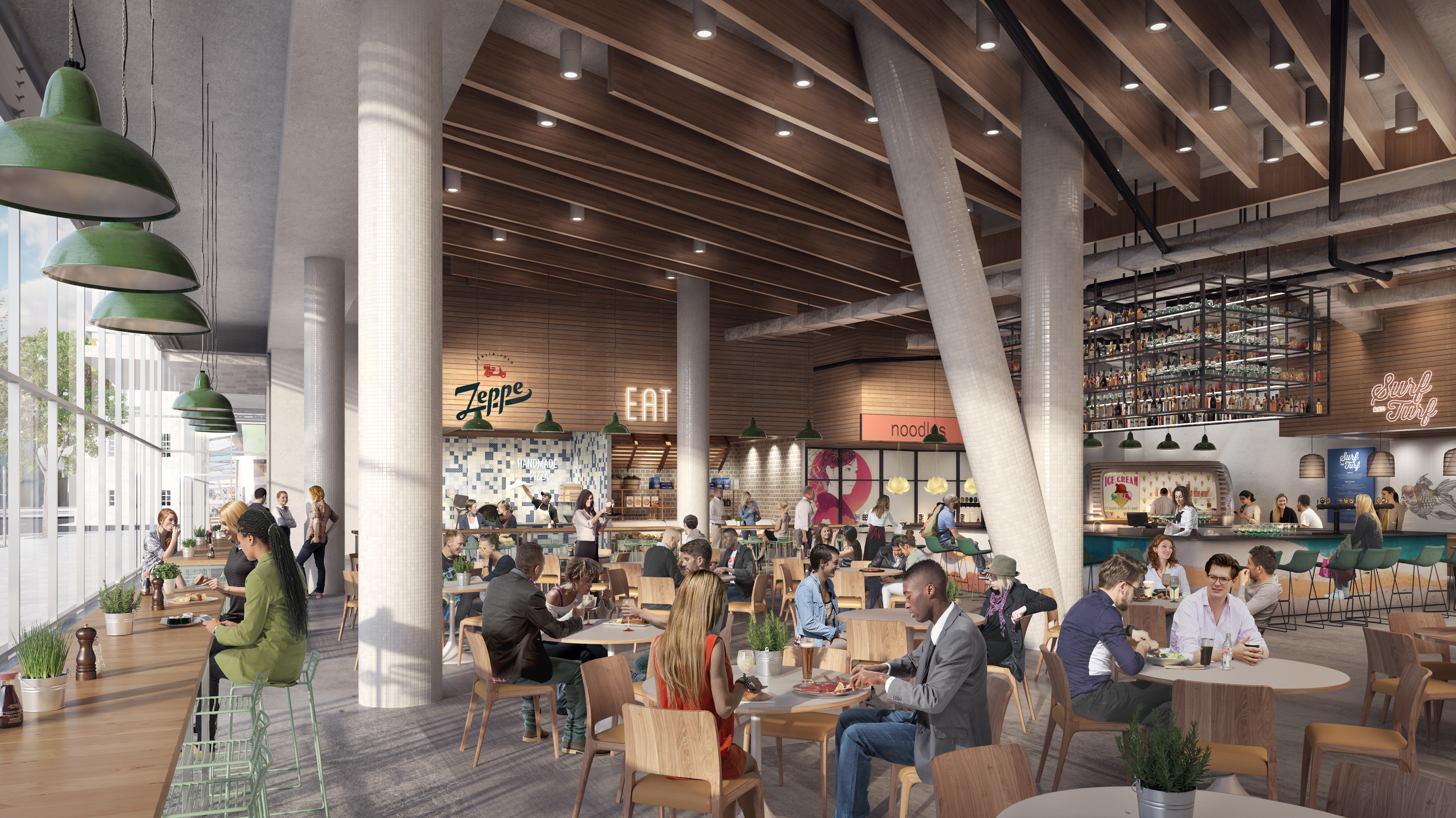 A rendering of the Jacx food hall