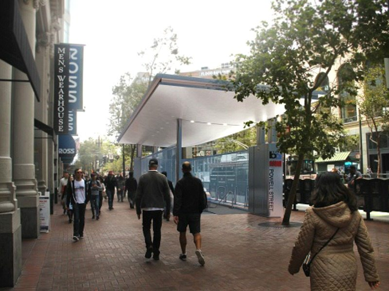 A rendering of a shelter with glass sides built over an entrance to Civic Center BART.