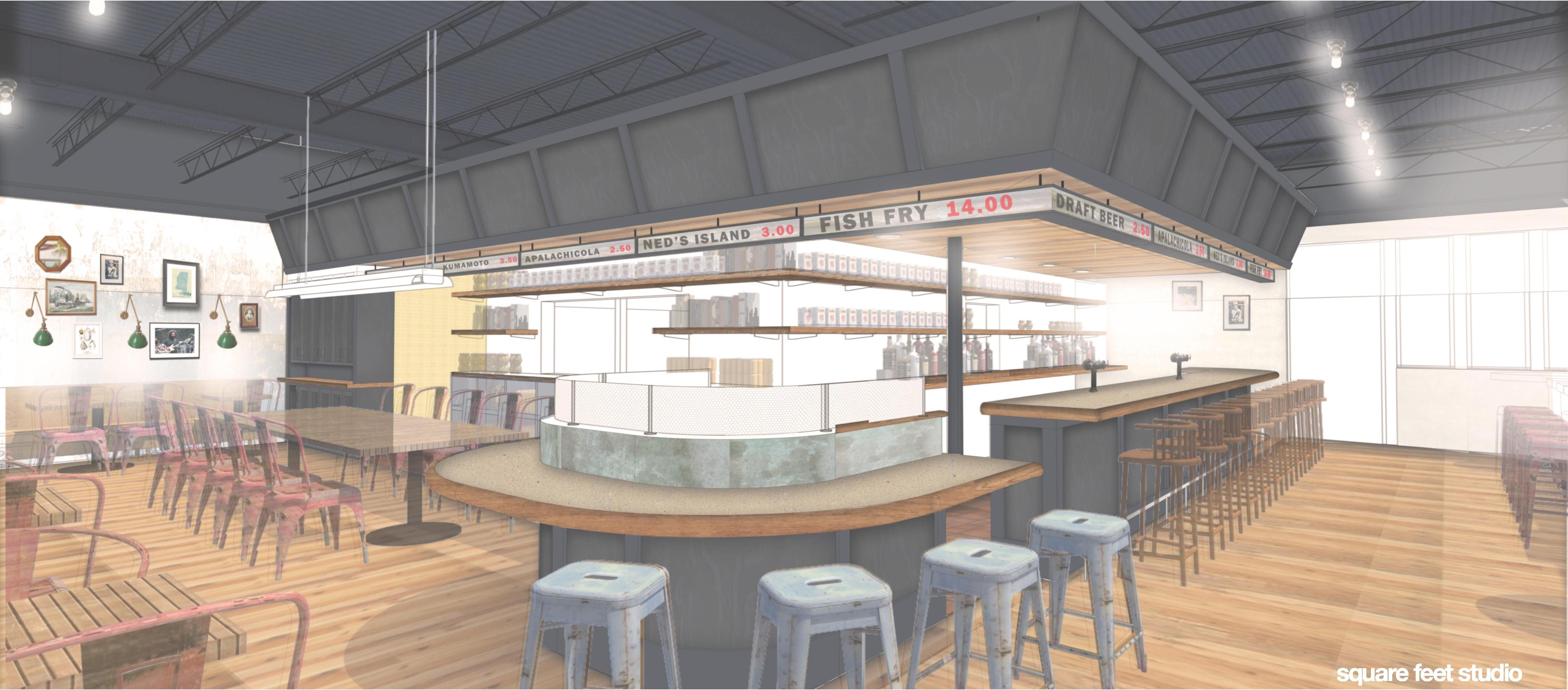 An full interior rendering of Mary Hoopa's House of Fried Chicken & Oysters.