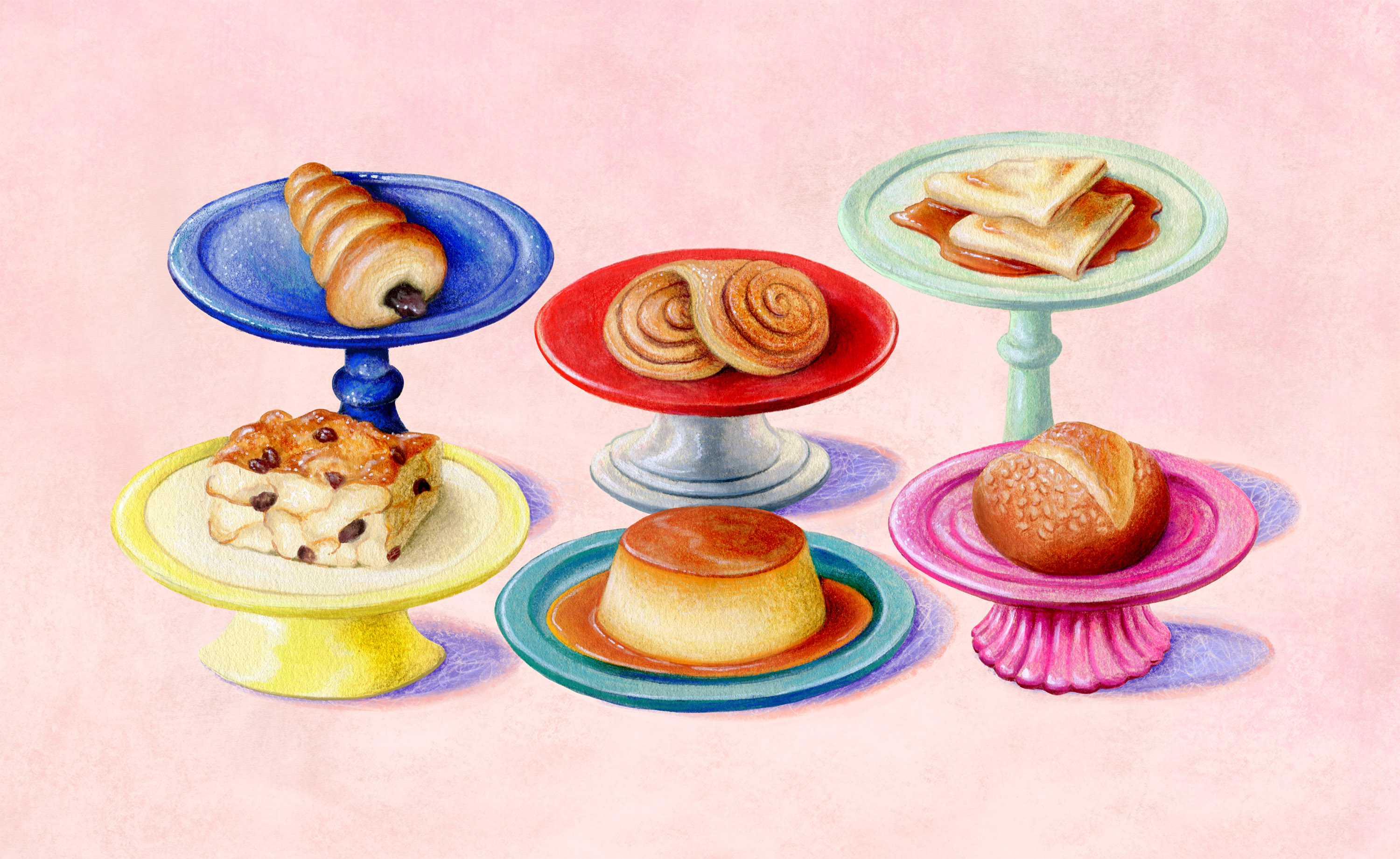 Six Mexican pastries on pedestals, illustrated