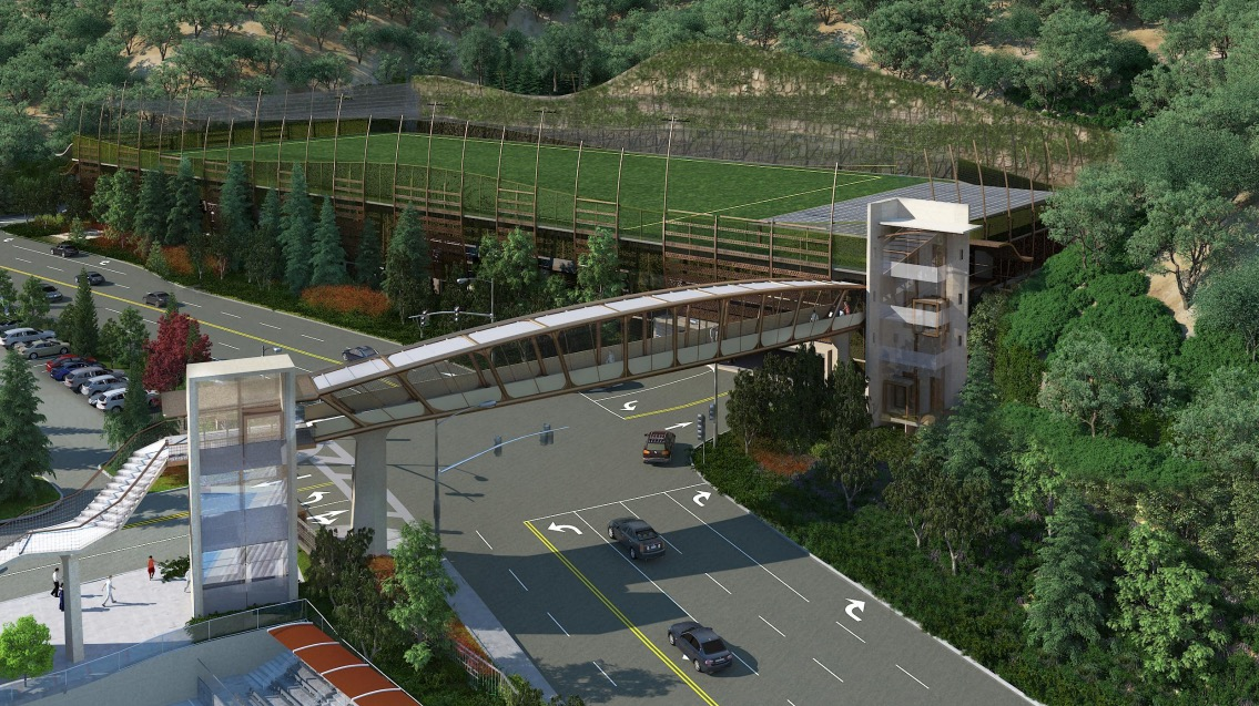 Rendering of bridge across Coldwater Canyon Ave