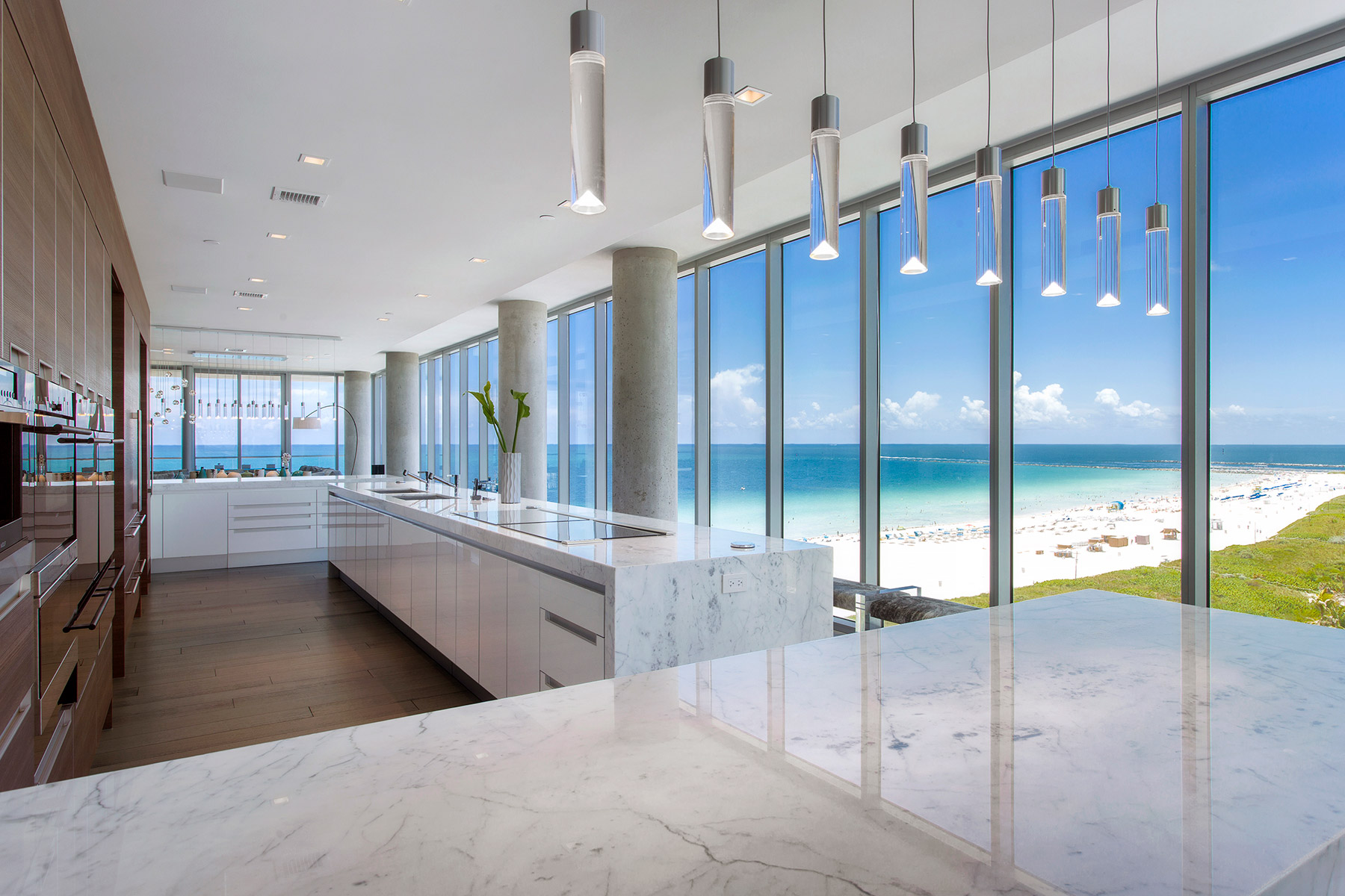 a high-end open kitchen inside the penthouse at 321 ocean overlooking South Beach