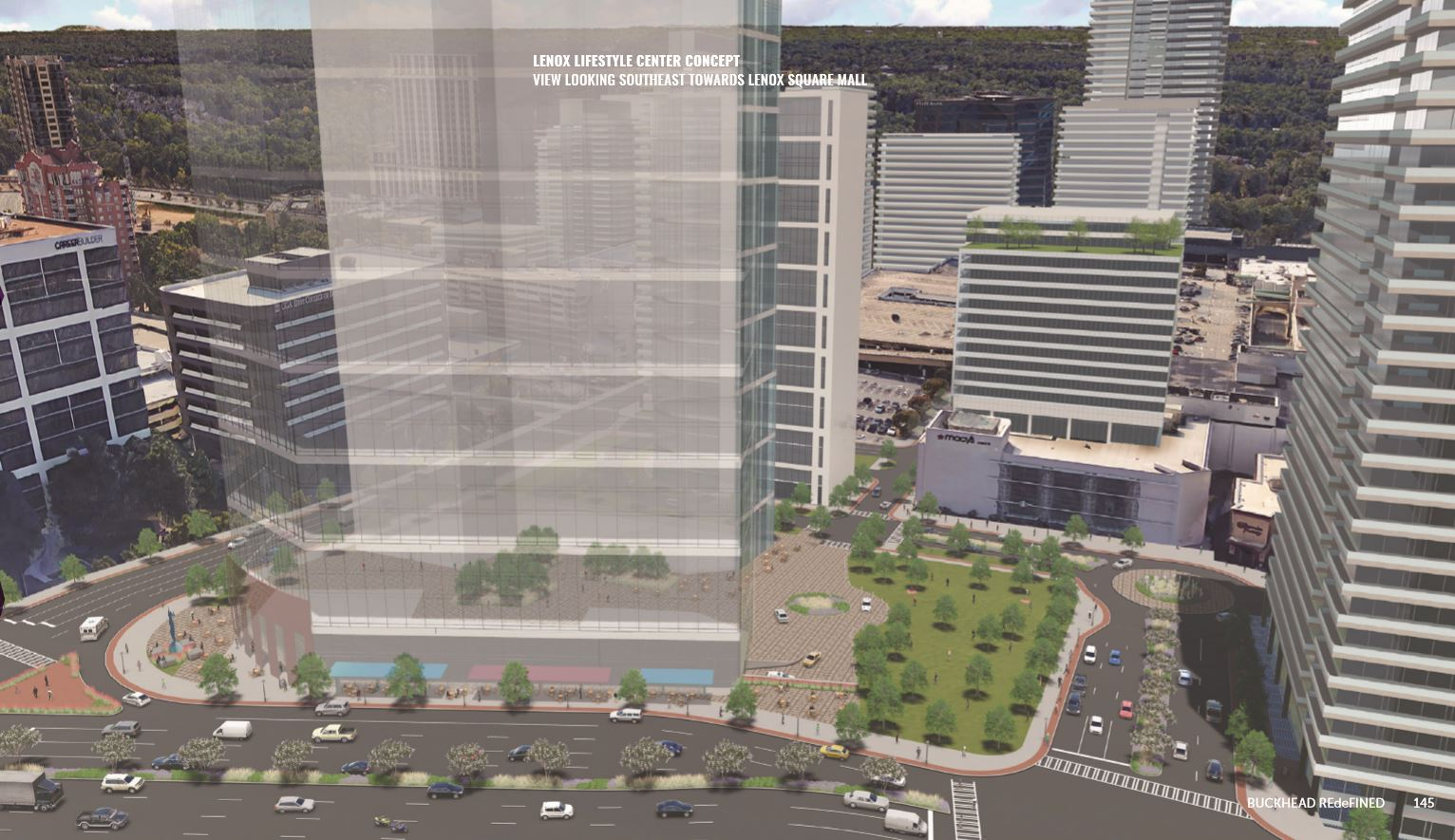 A rudimentary rendering of office towers standing in front of lenox square.