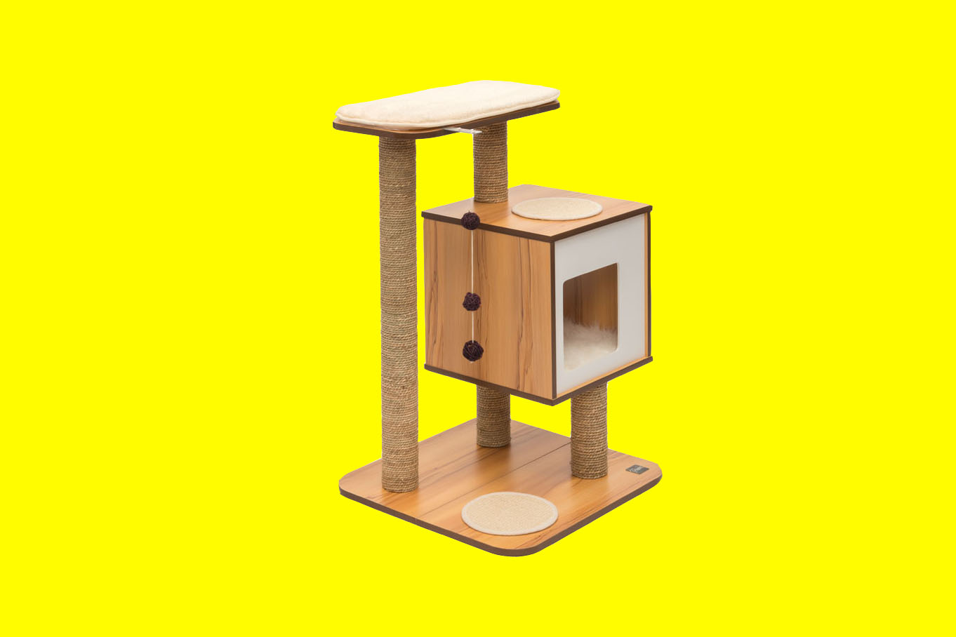 modern cat furniture with cubed cubby and elevated platform.