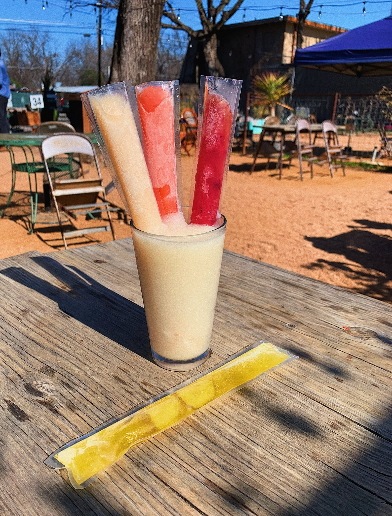 A frozen cocktail with frozen booze pops from Kinda Tropical